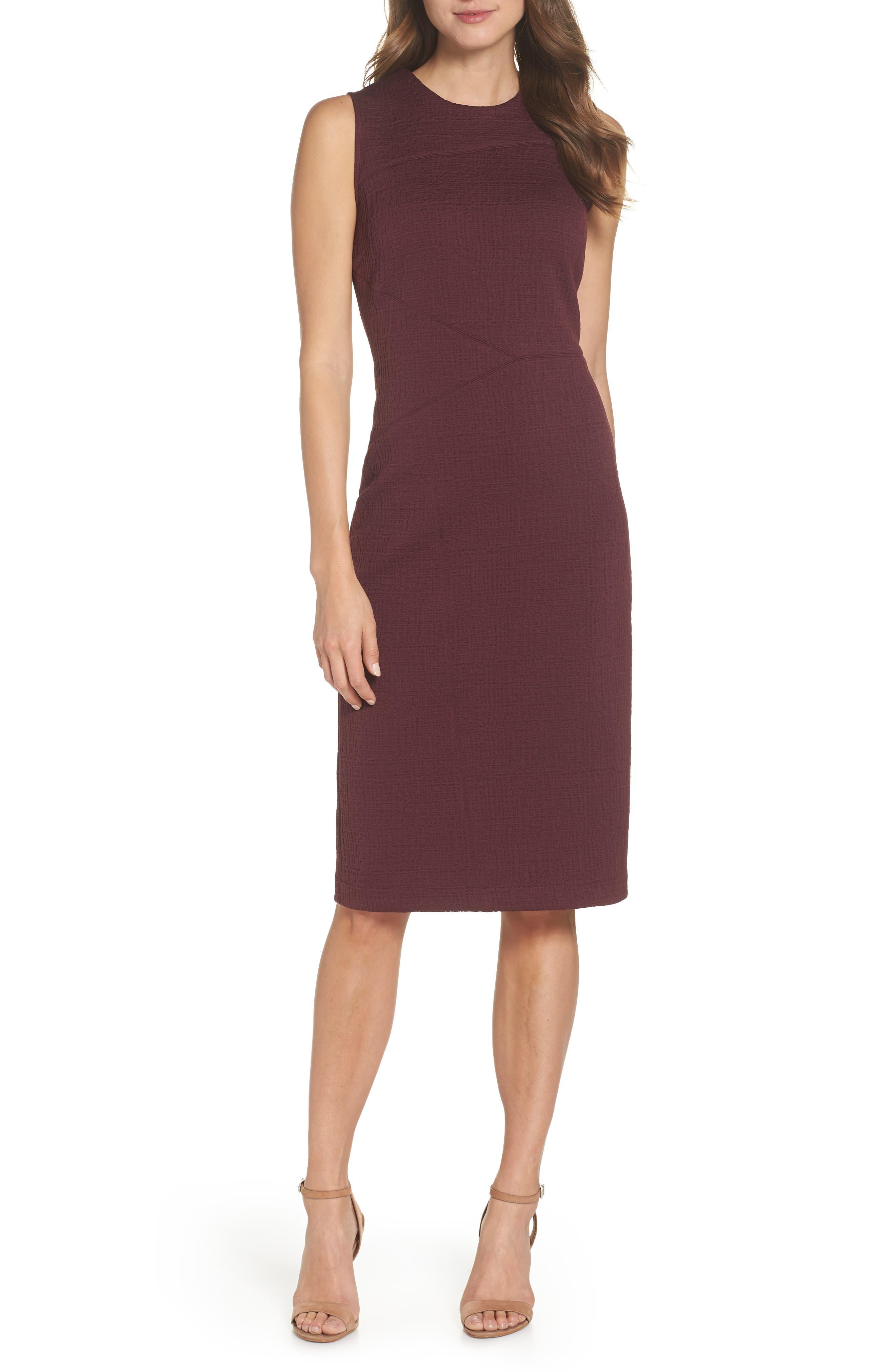 Jacquard Sheath Dress,                             Main thumbnail 1, color,                             Fig