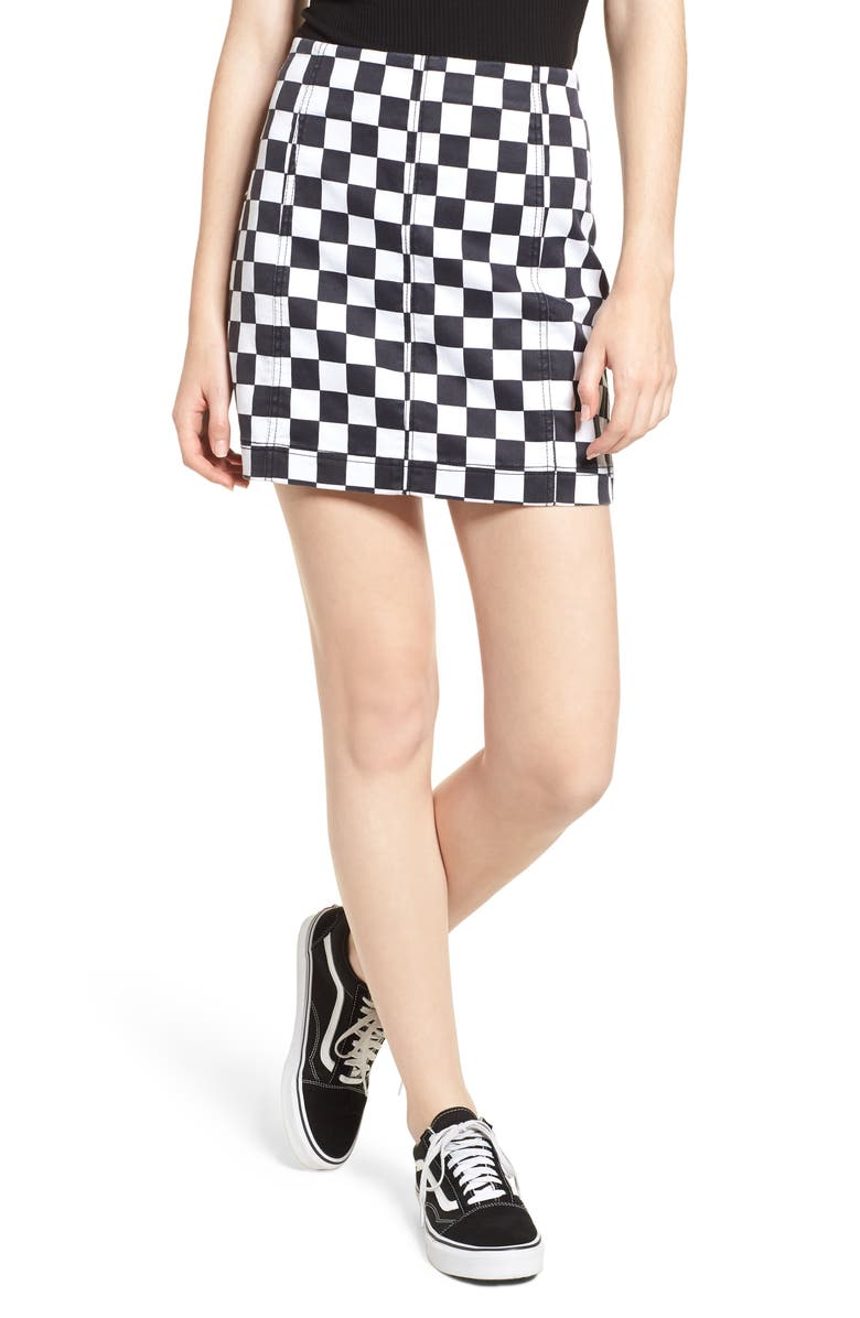 Checkered Denim Miniskirt