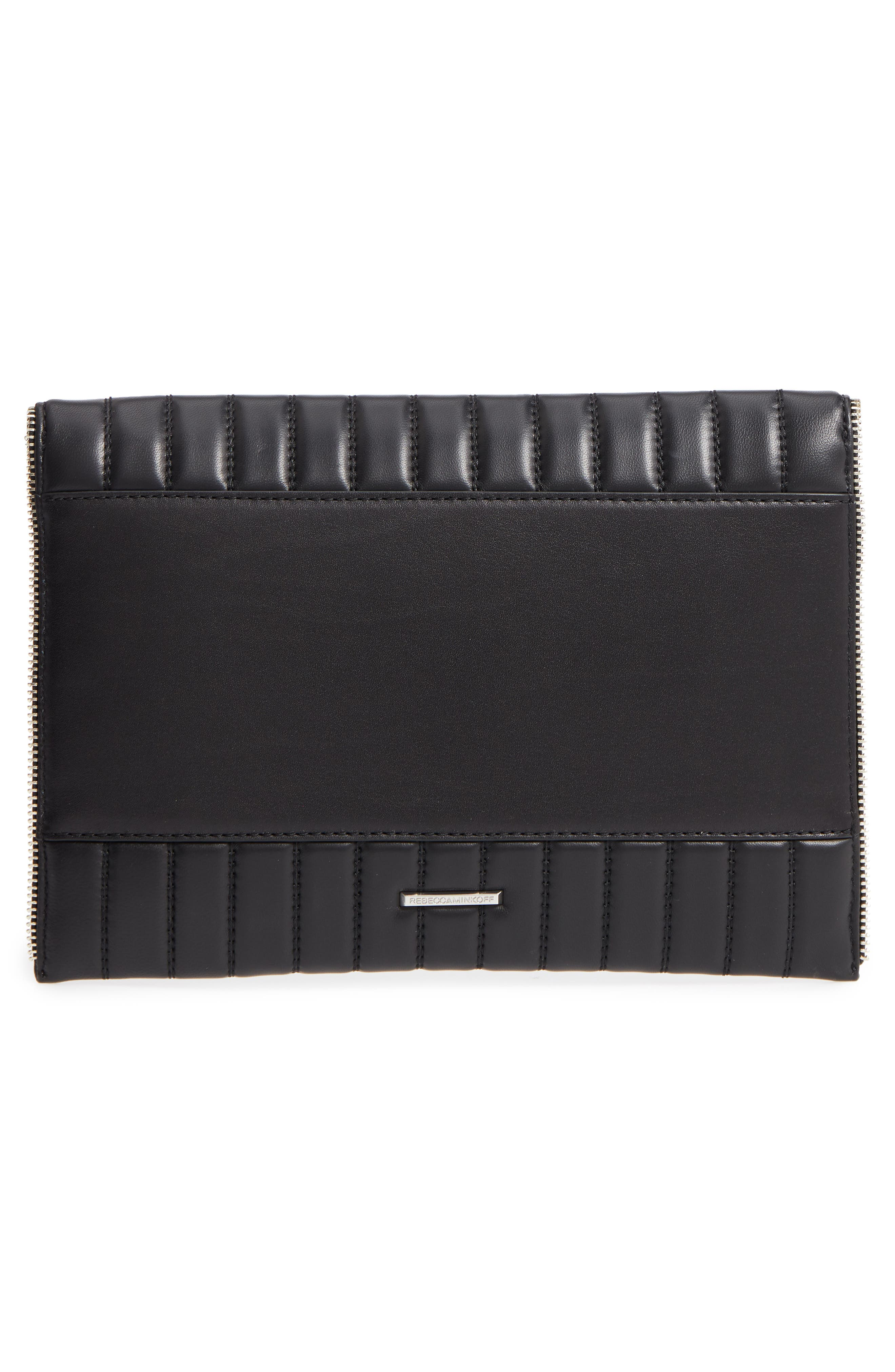 Leo Quilted Leather Clutch,                             Alternate thumbnail 3, color,                             Black