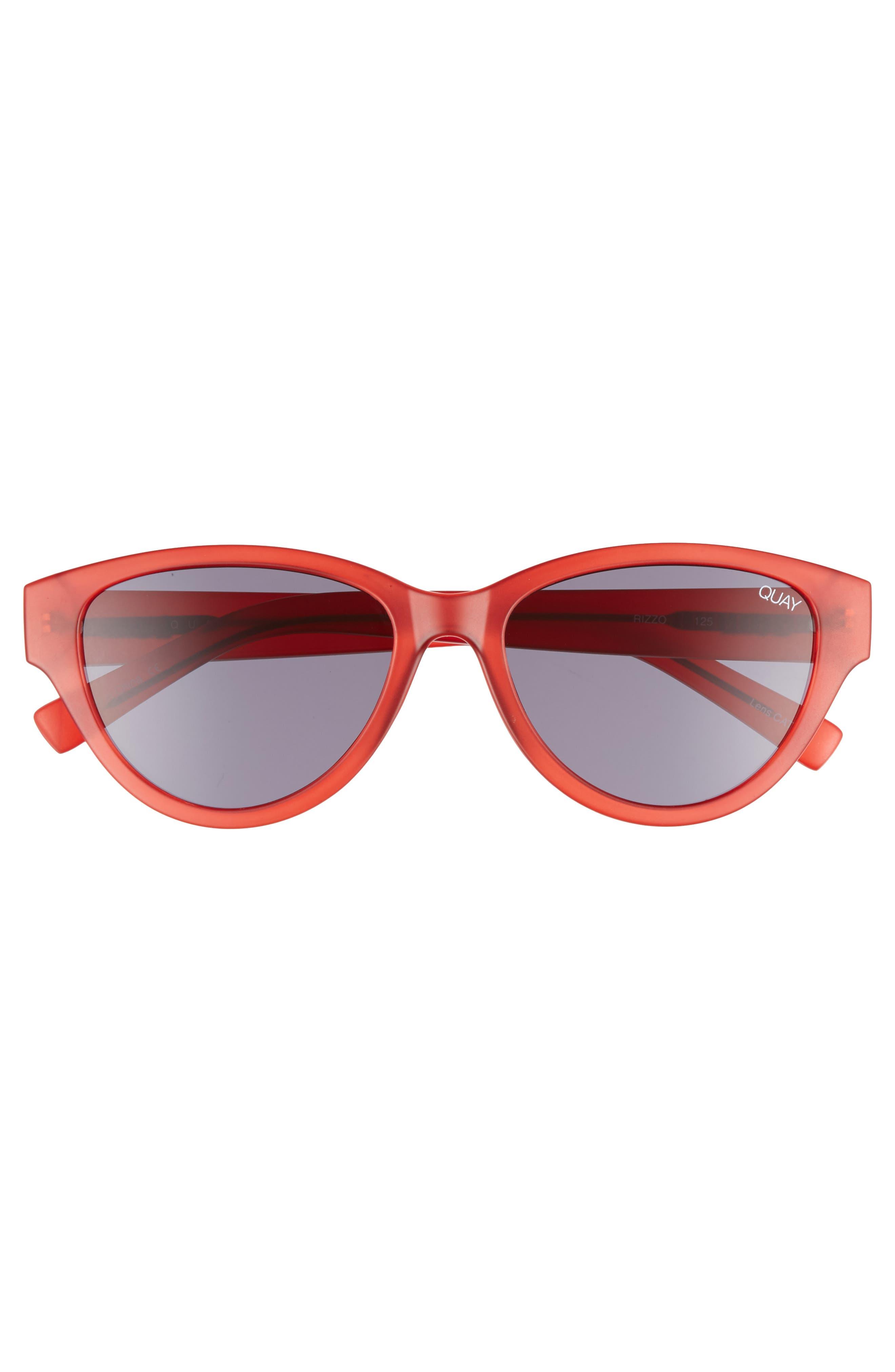 Rizzo 55mm Cat Eye Sunglasses,                             Alternate thumbnail 4, color,                             Red/ Smoke