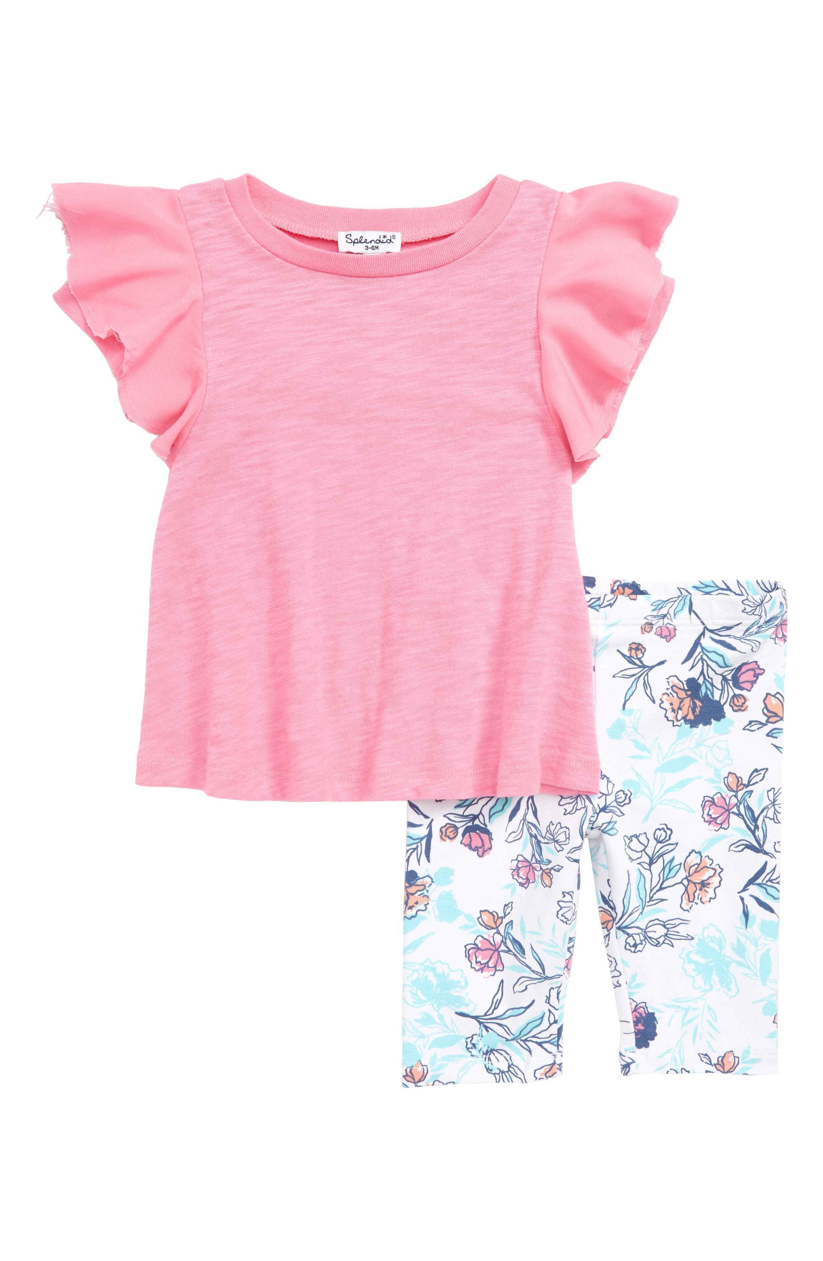 Ruffle Sleeve Tee & Floral Leggings Set,                         Main,                         color, Wild Orchid