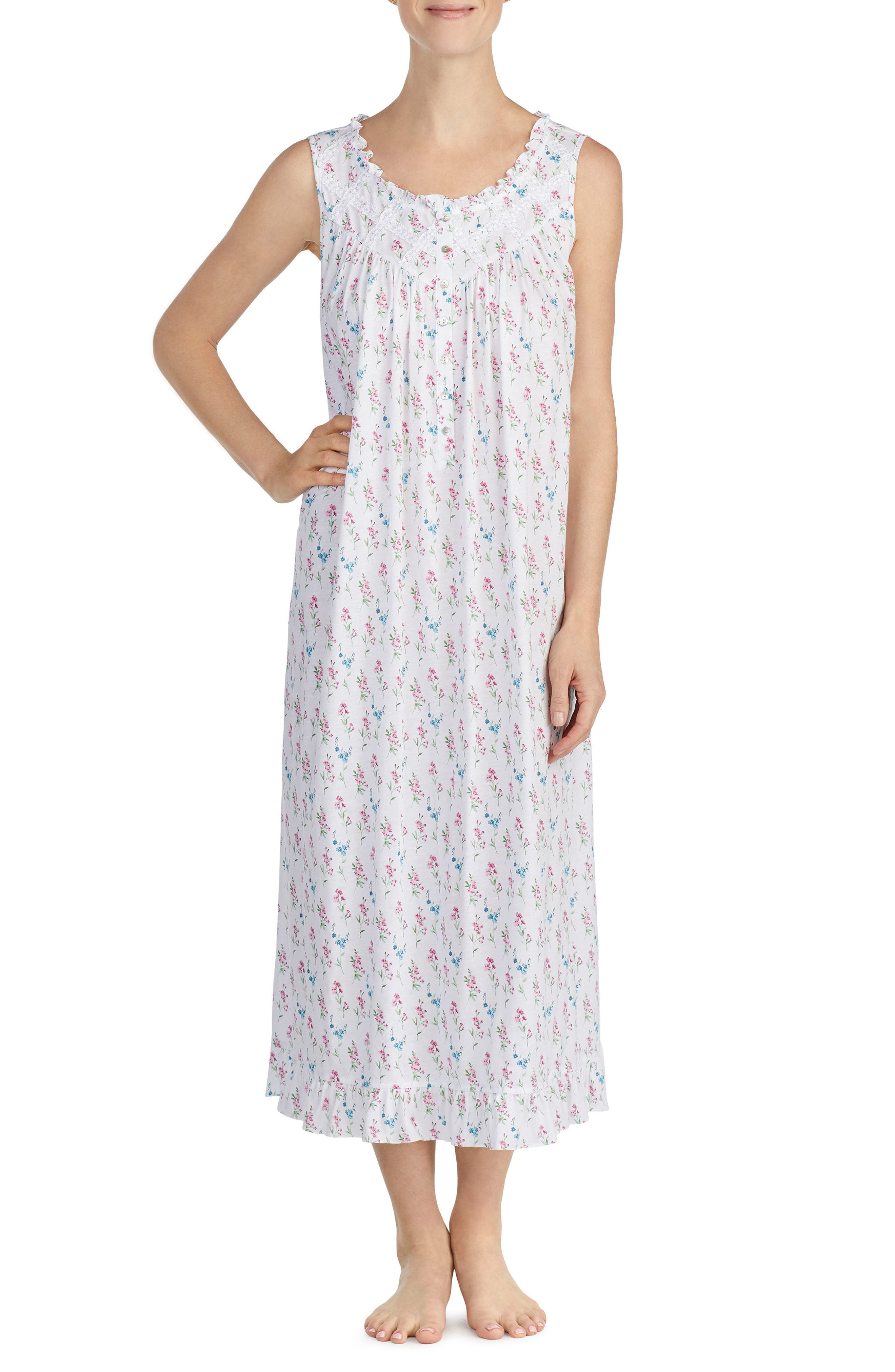 Long Nightgown,                             Main thumbnail 1, color,                             White Grnd Multi Fall Floral
