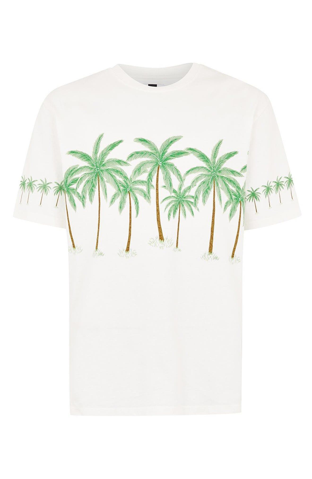 Oversize Palm Trees Graphic T-Shirt,                             Alternate thumbnail 3, color,                             Cream Multi