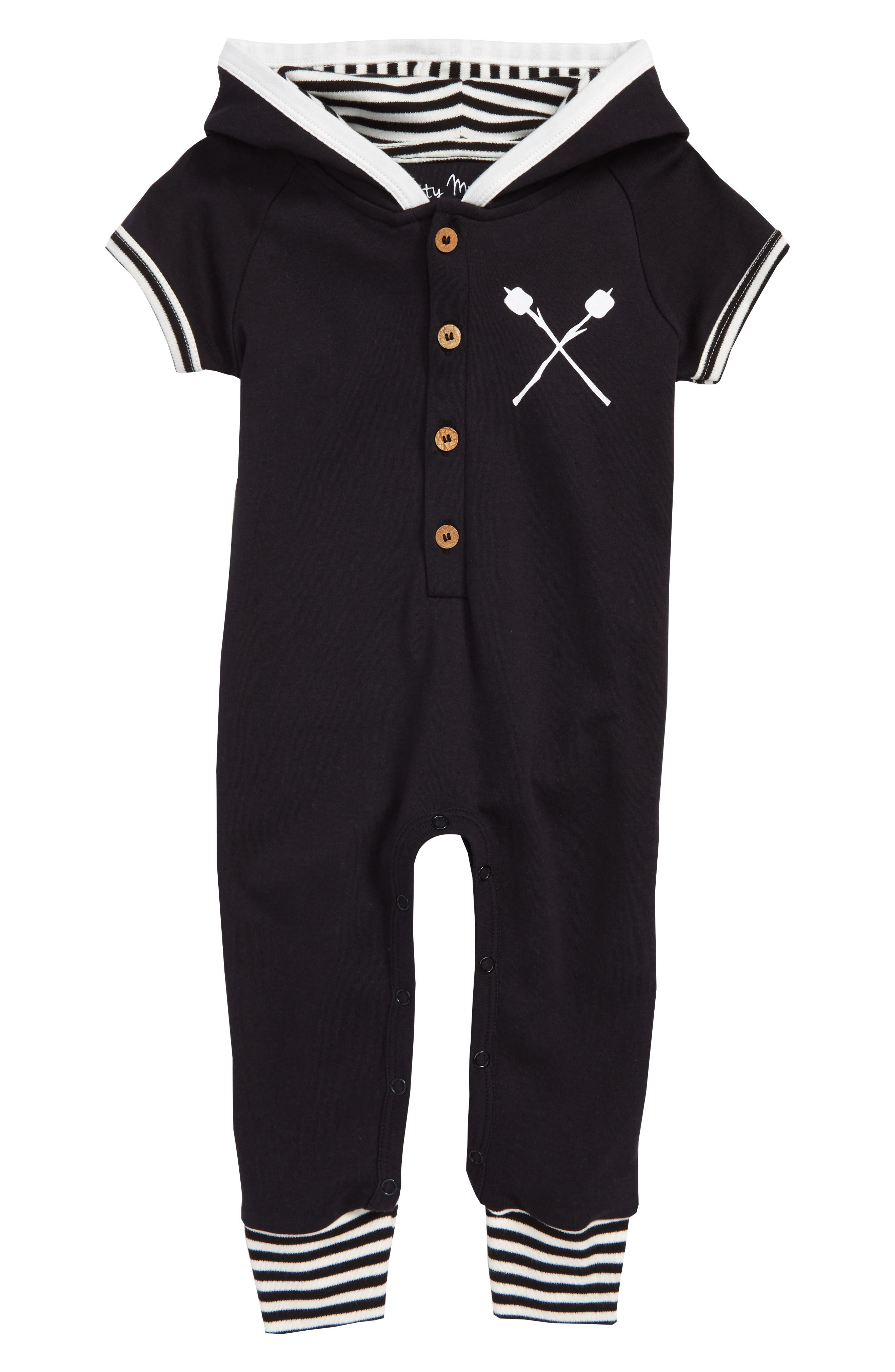 Camping Organic Cotton Hooded Romper,                         Main,                         color, Black