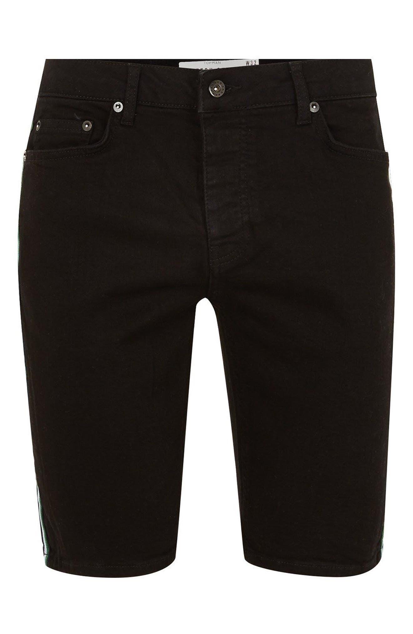Tape Stretch Skinny Fit Denim Shorts,                             Alternate thumbnail 4, color,                             Black