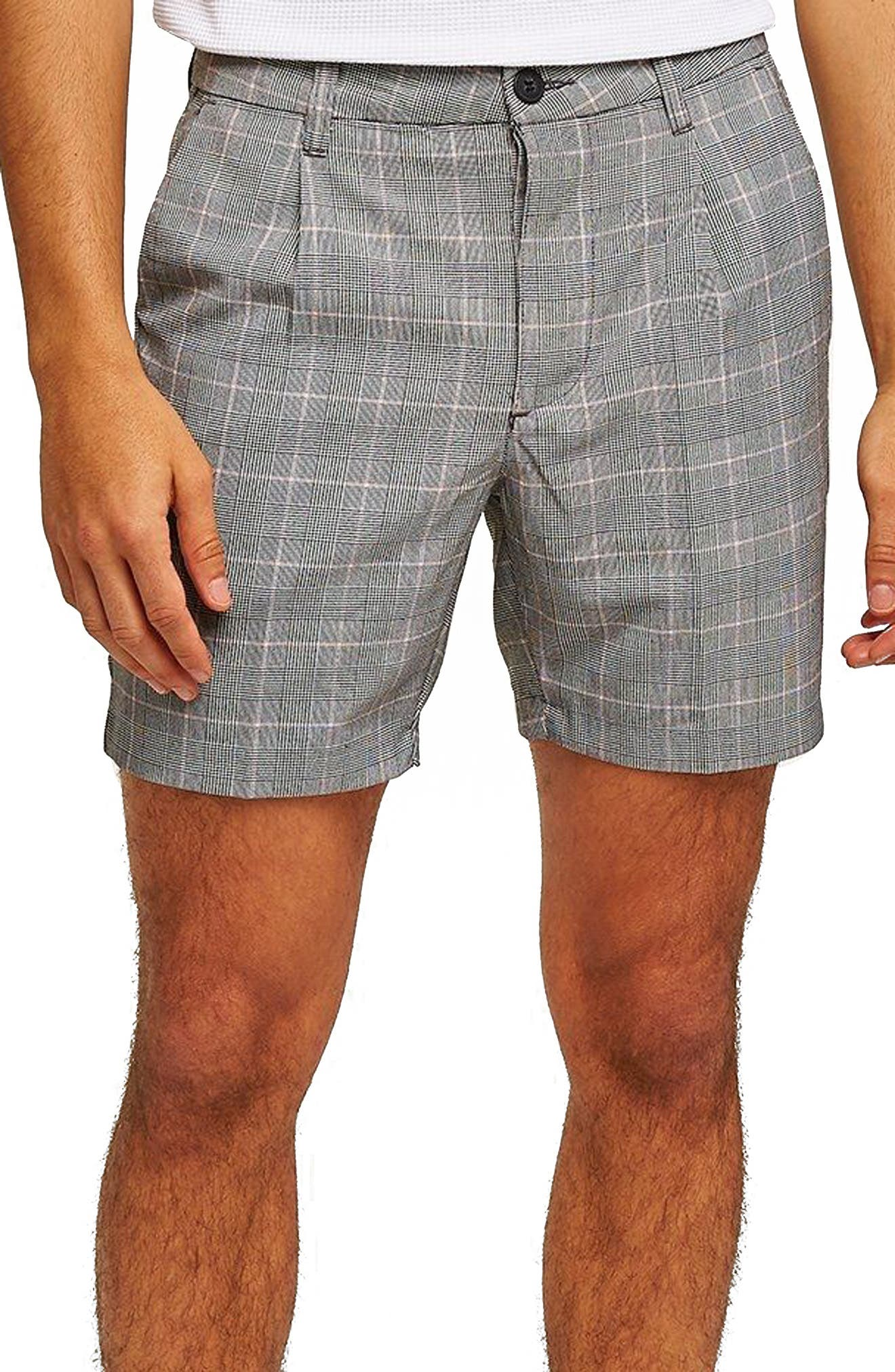 Pleated Check Shorts,                         Main,                         color, Grey Multi