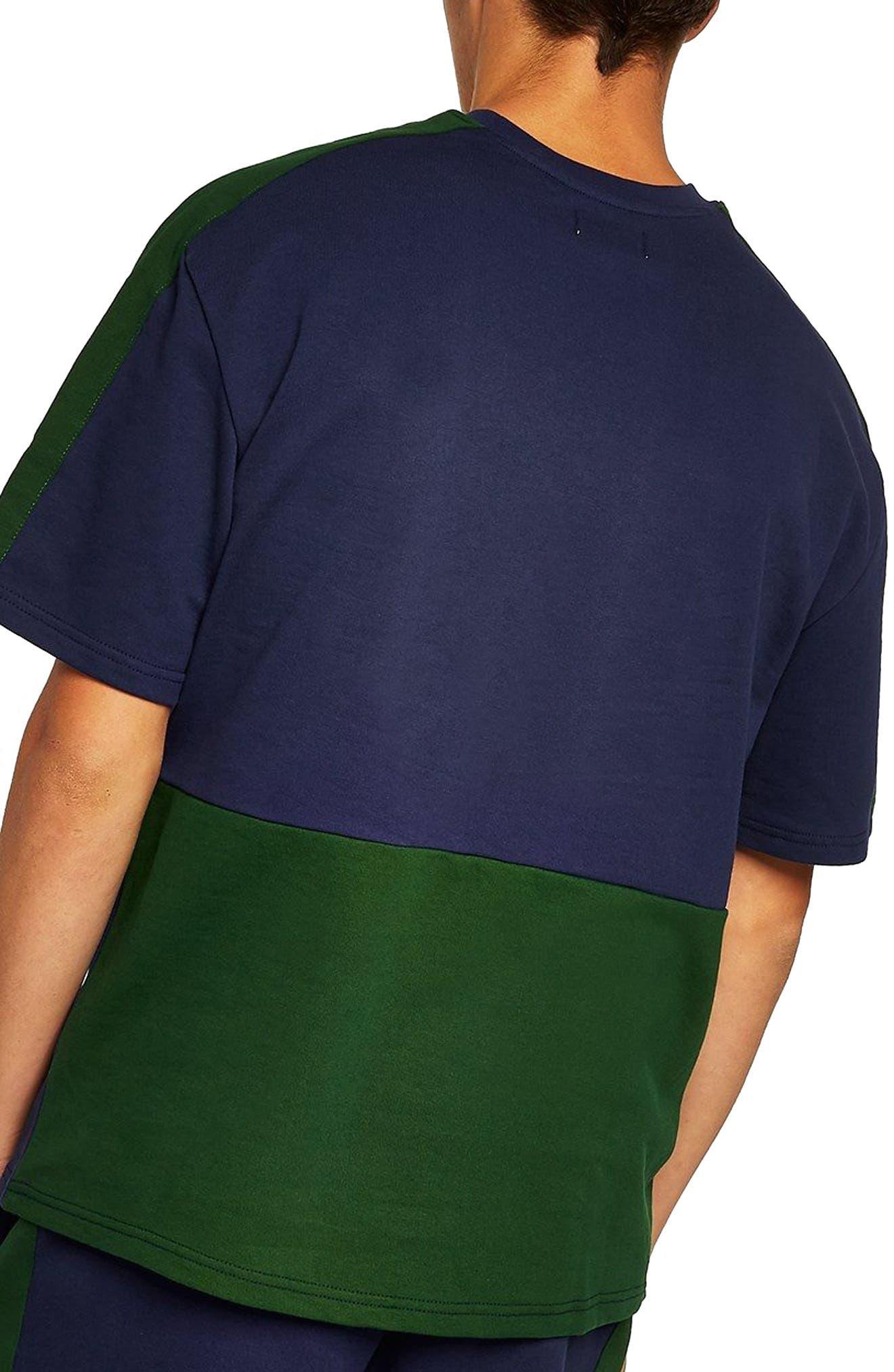Colorblock Short Sleeve Sweatshirt,                             Alternate thumbnail 2, color,                             Navy Blue Multi