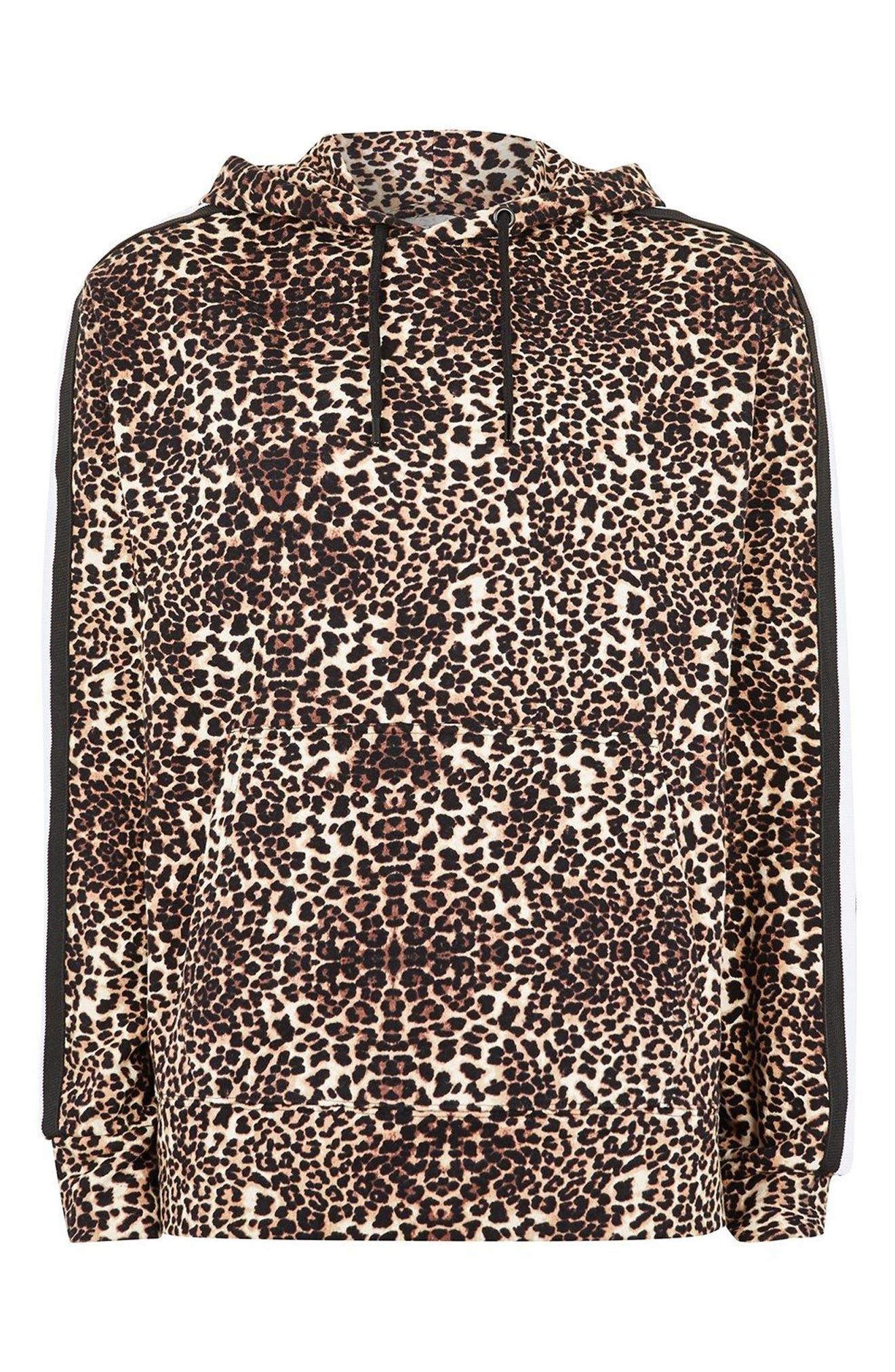 Leopard Print Hoodie,                         Main,                         color, Brown Multi