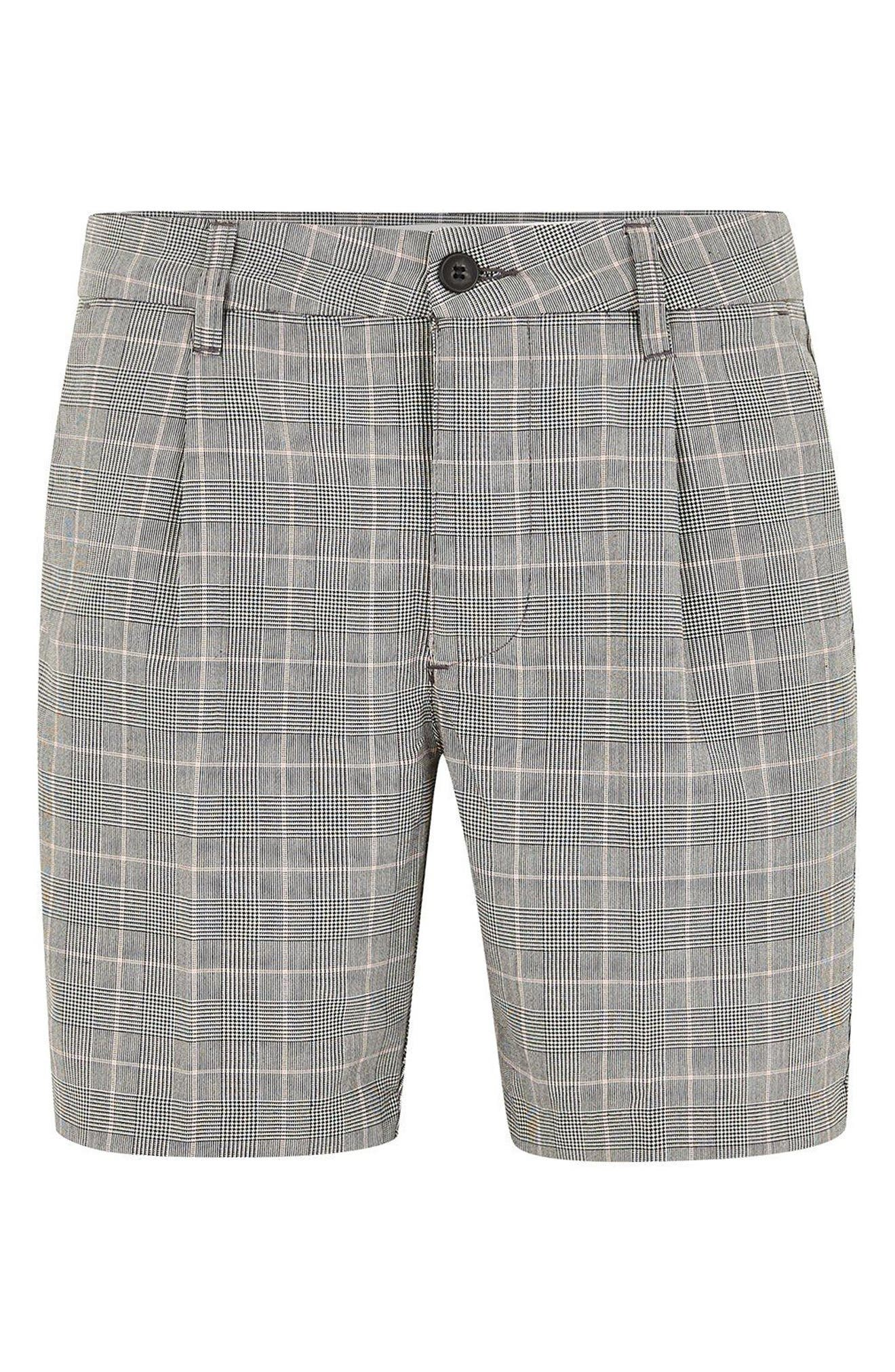 Pleated Check Shorts,                             Alternate thumbnail 4, color,                             Grey Multi
