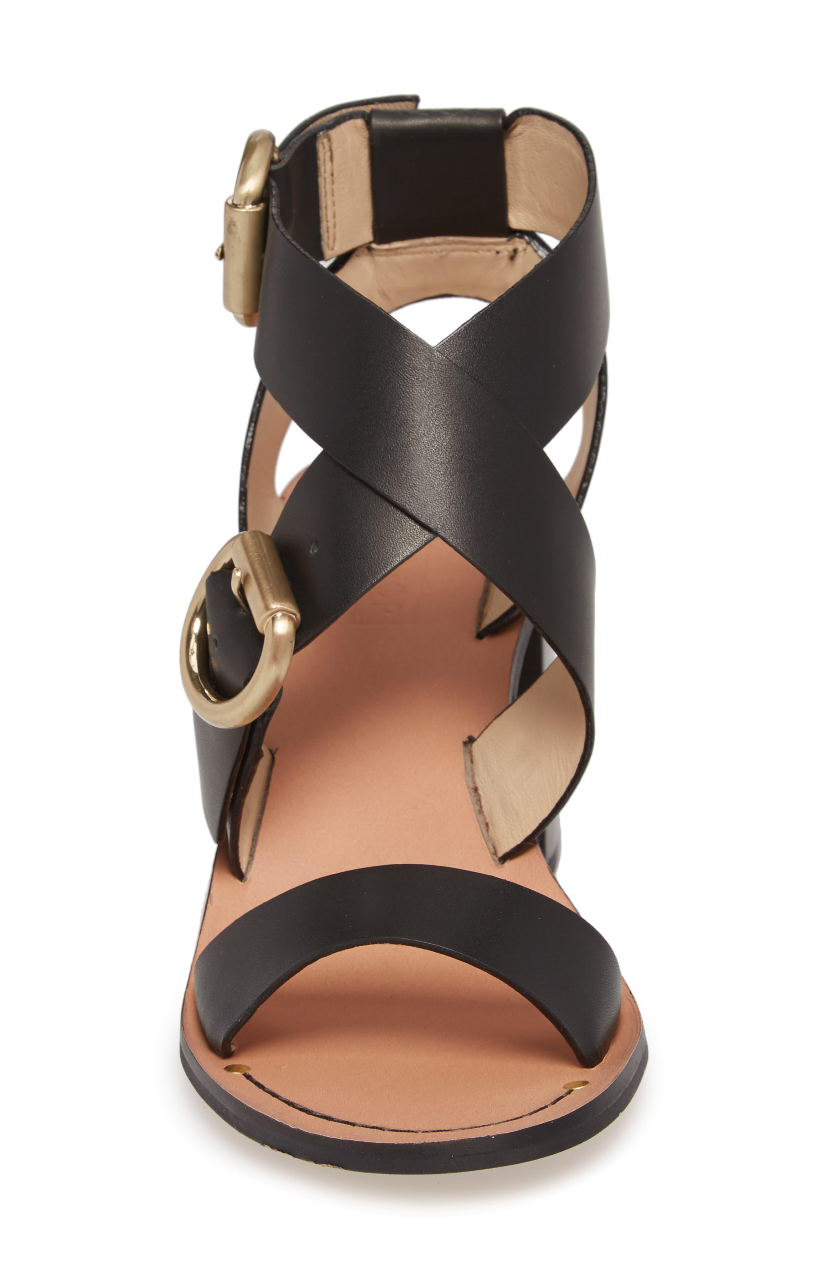 Natalie Buckled Cross Strap Sandal,                             Alternate thumbnail 4, color,                             Black Multi
