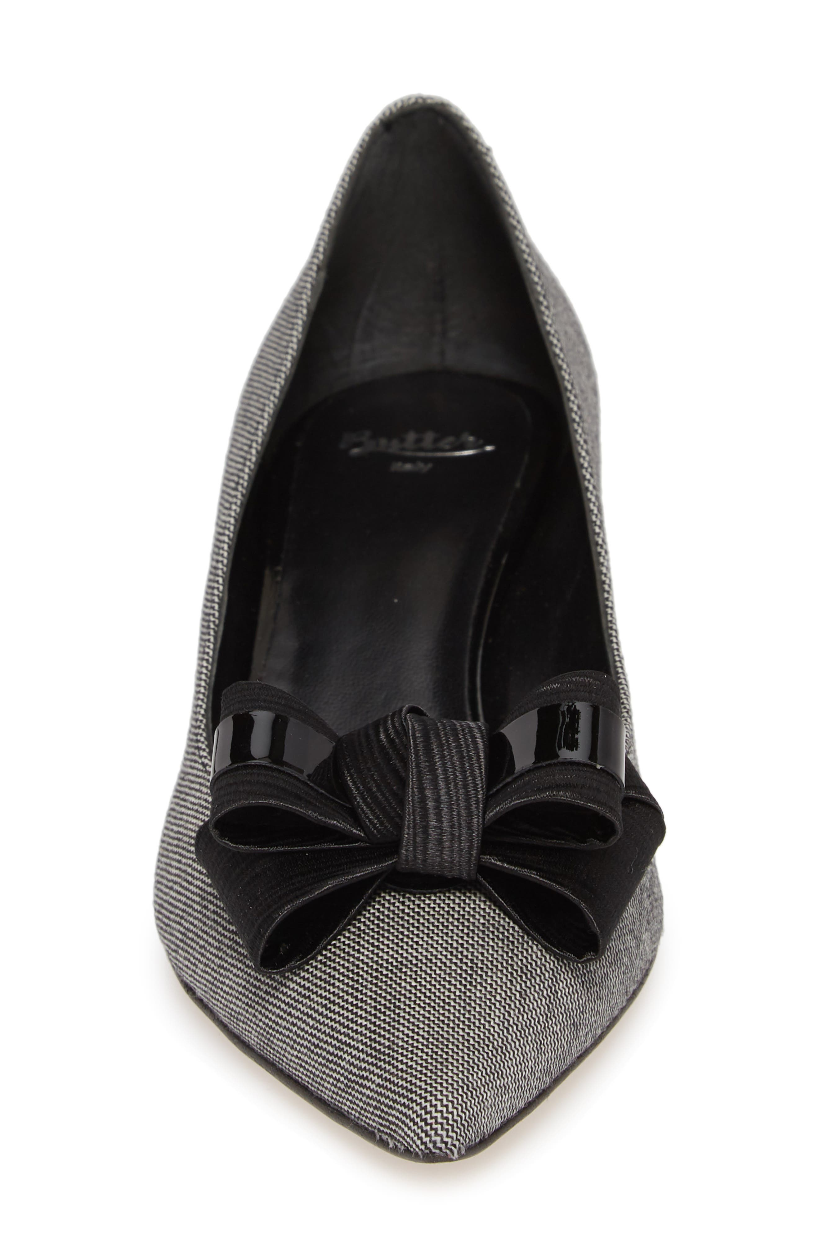 Butter Bentley Bow Pointy Toe Pump,                             Alternate thumbnail 4, color,                             Chatter Print