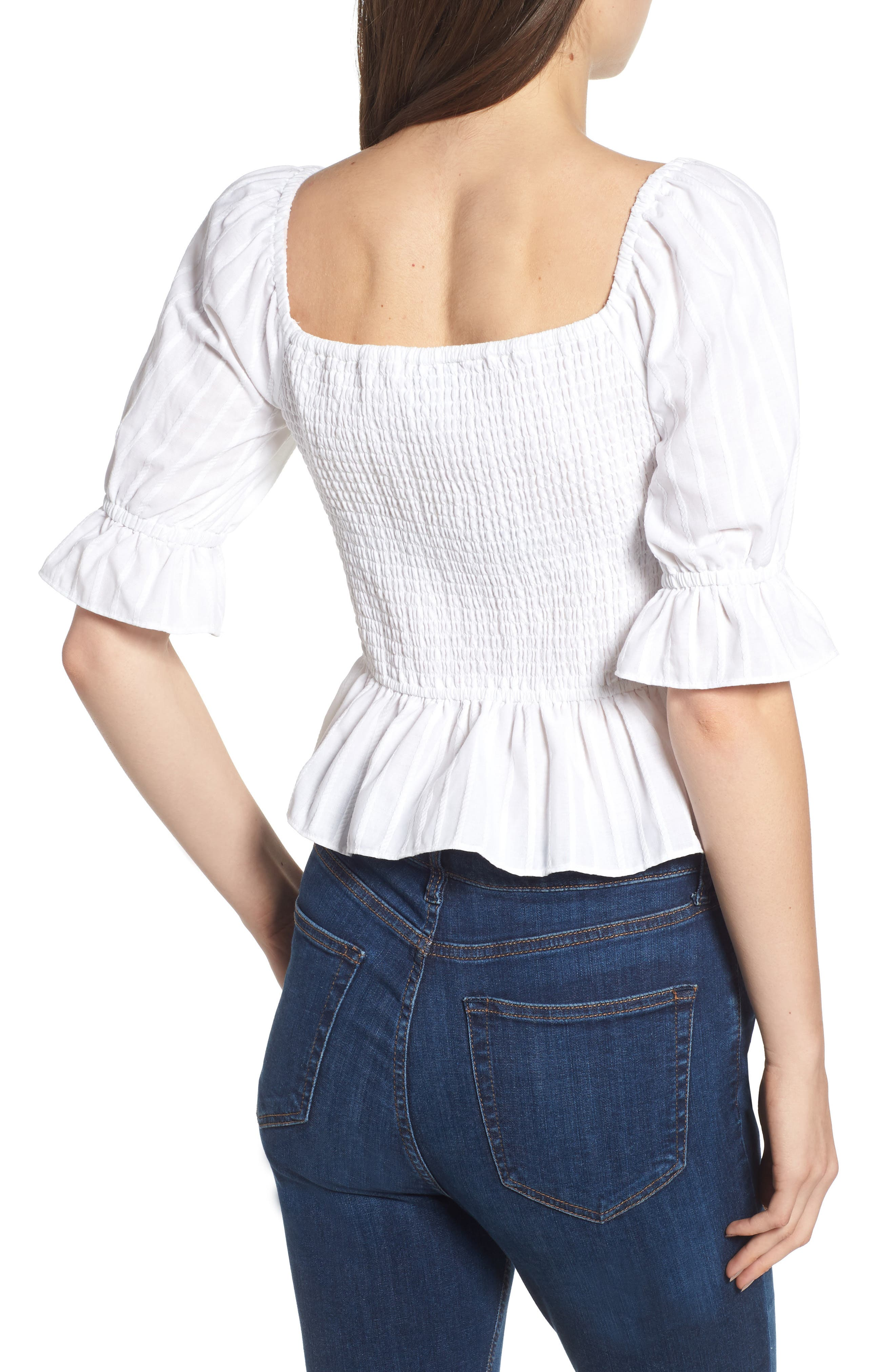Currency Puff Sleeve Top,                             Alternate thumbnail 3, color,                             White