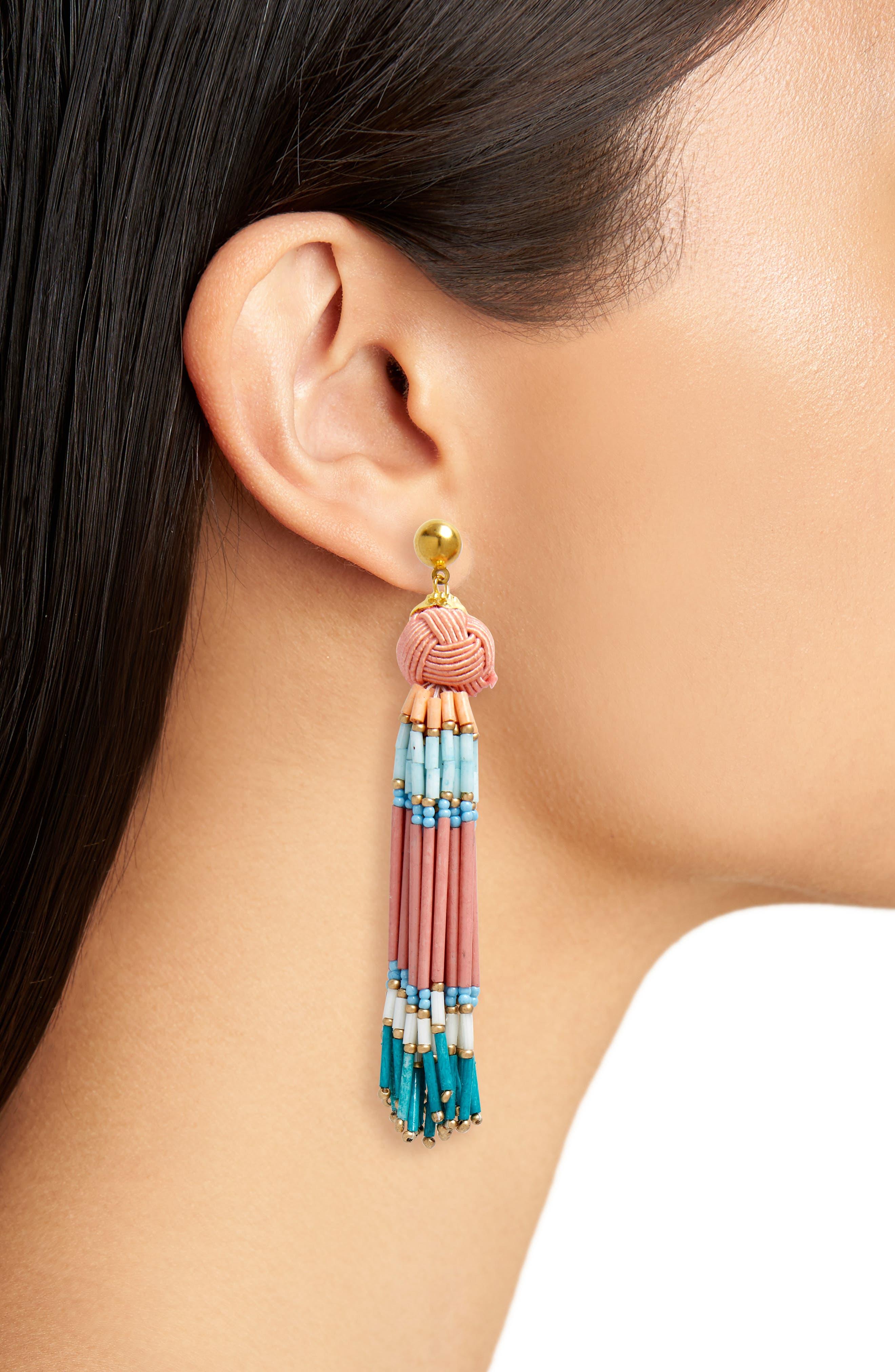 Knot & Beaded Tassel Earrings,                             Alternate thumbnail 2, color,                             Pink Multi