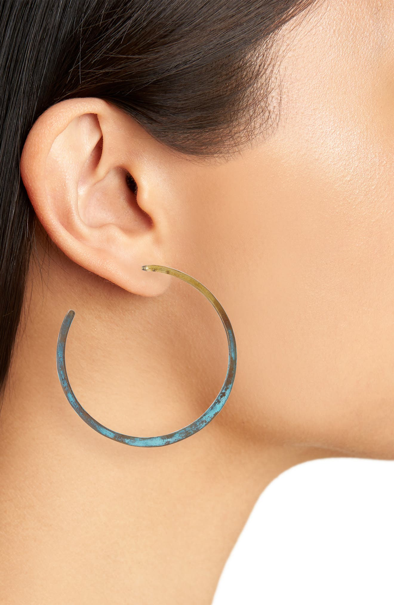 Patina Hoop Earrings,                             Alternate thumbnail 2, color,                             Dark Green