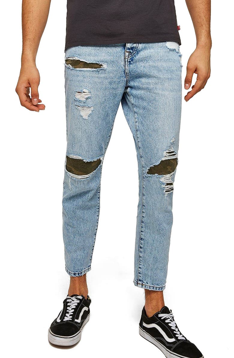 Camo Patch Tapered Fit Jeans