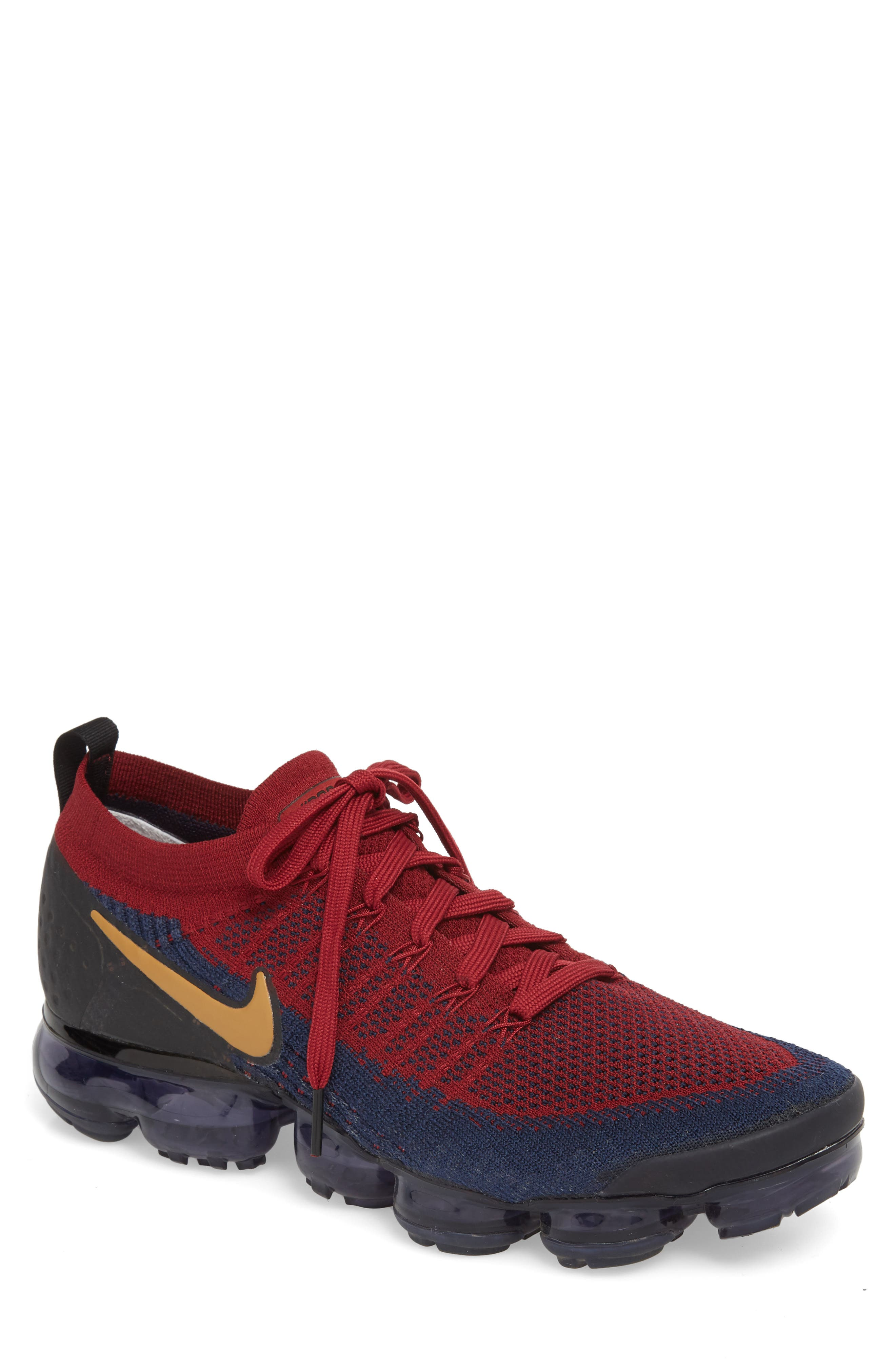 Air Vapormax Flyknit 2 Running Shoe,                         Main,                         color, Team Red/ Wheat/ Obsidian