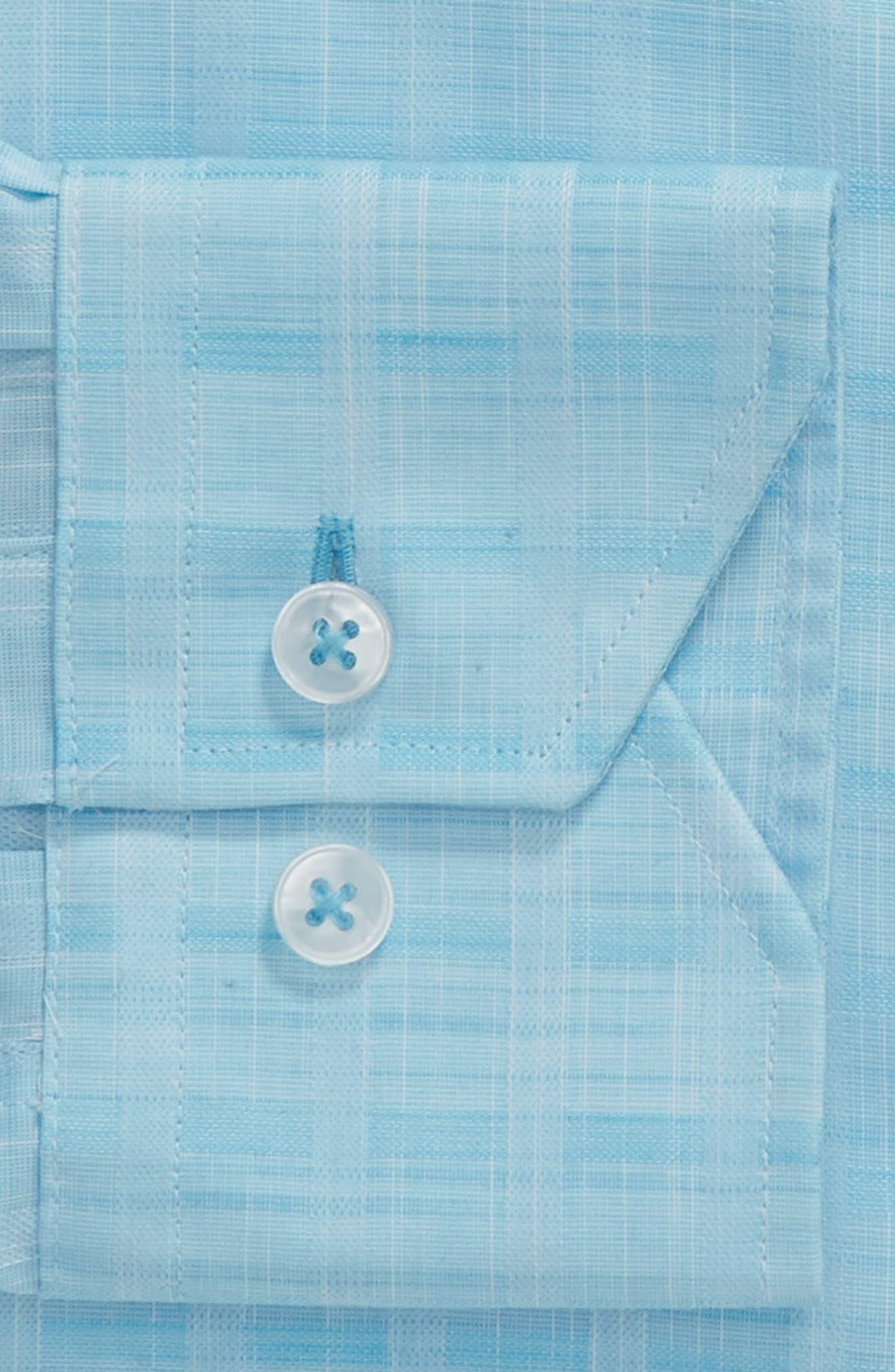 Trim Fit Check Dress Shirt,                             Alternate thumbnail 5, color,                             Aqua