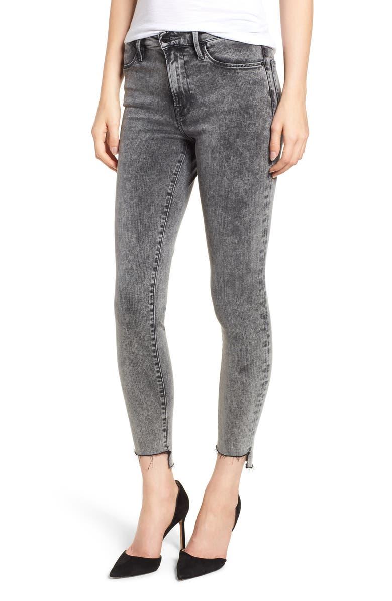 Le High Acid Wash Stagger Hem Skinny Jeans