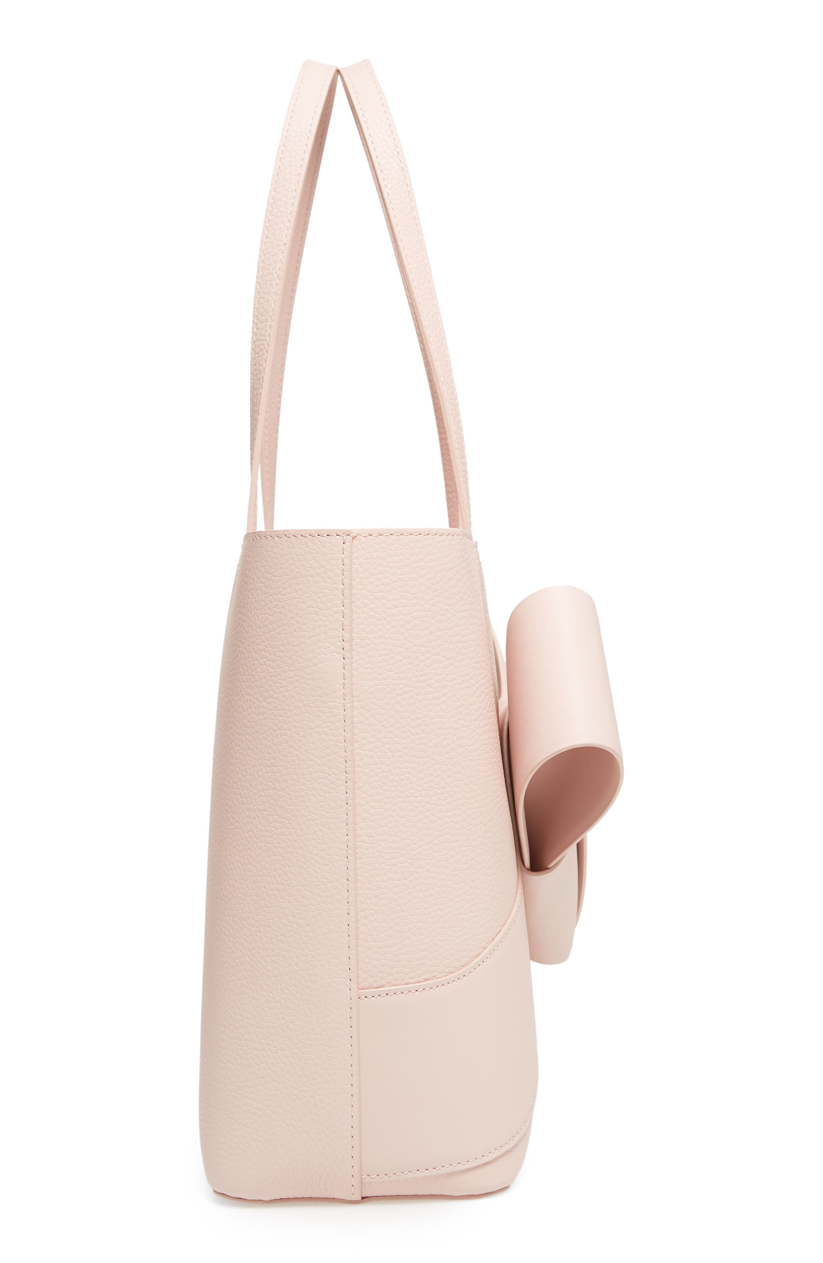 Giant Knot Leather Shopper,                             Alternate thumbnail 5, color,                             Nude Pink