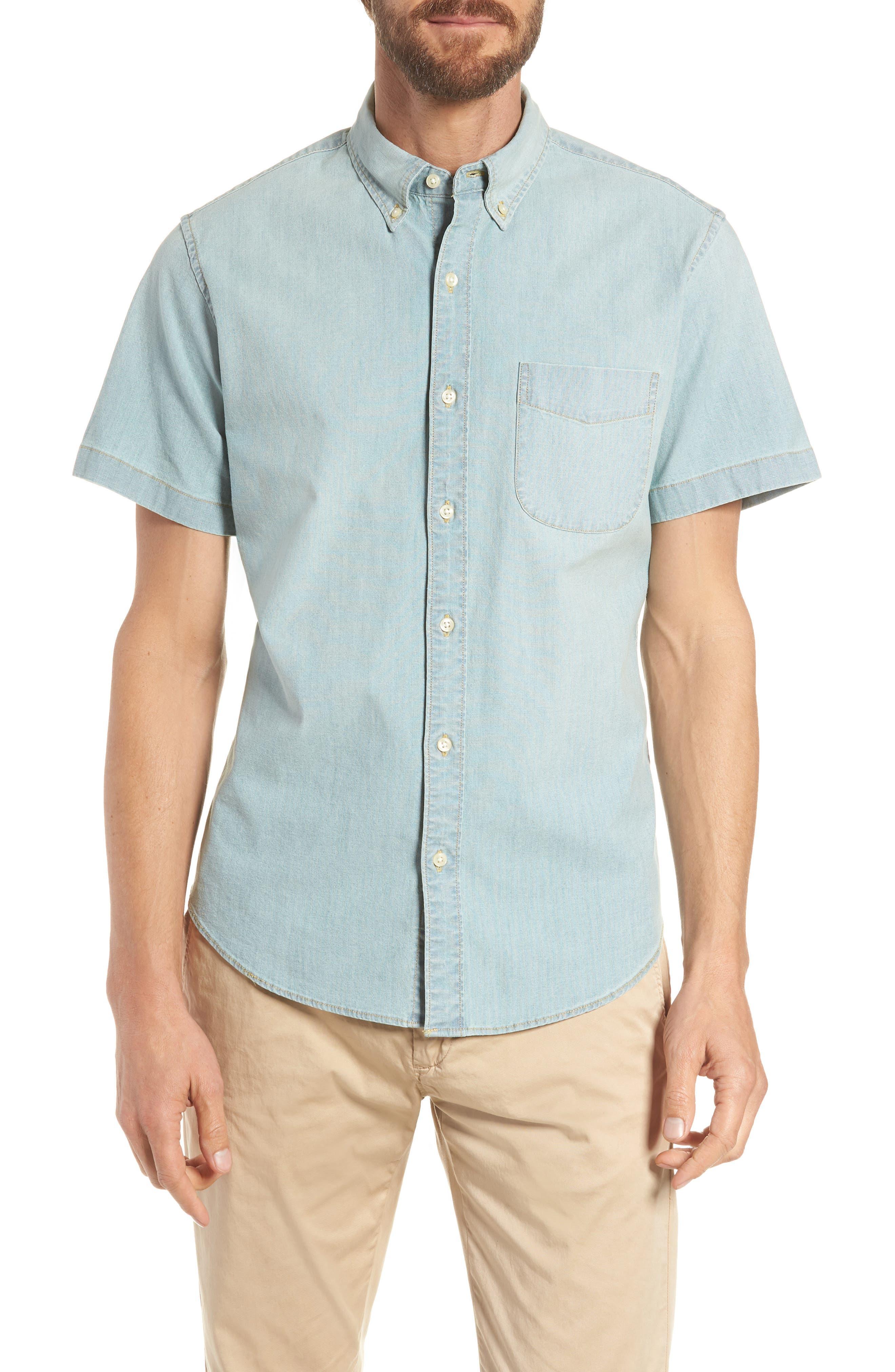 Slim Fit Stretch Chambray Shirt,                         Main,                         color, Indigo