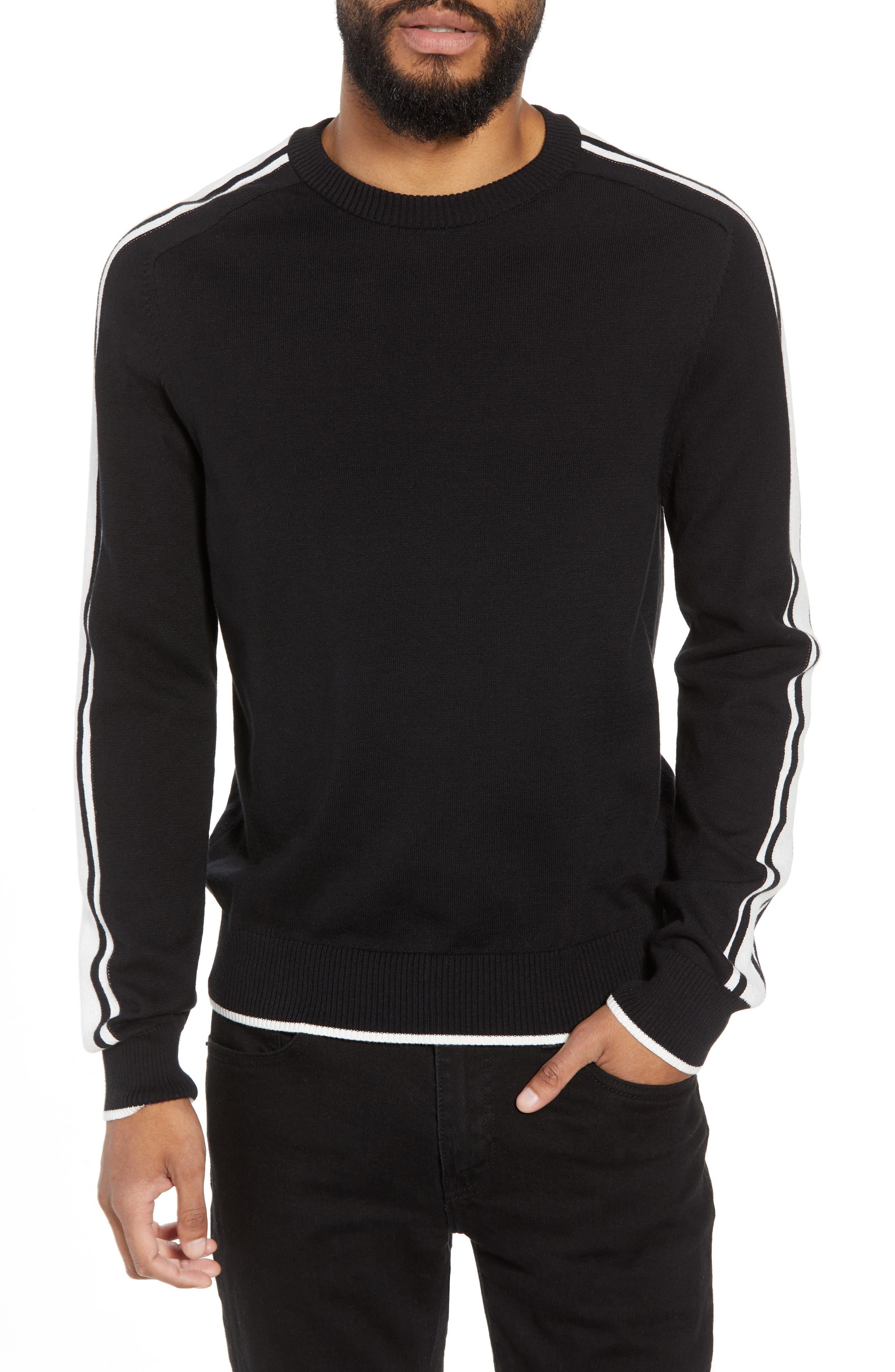 Stripe Sleeve Sweater,                         Main,                         color, Black