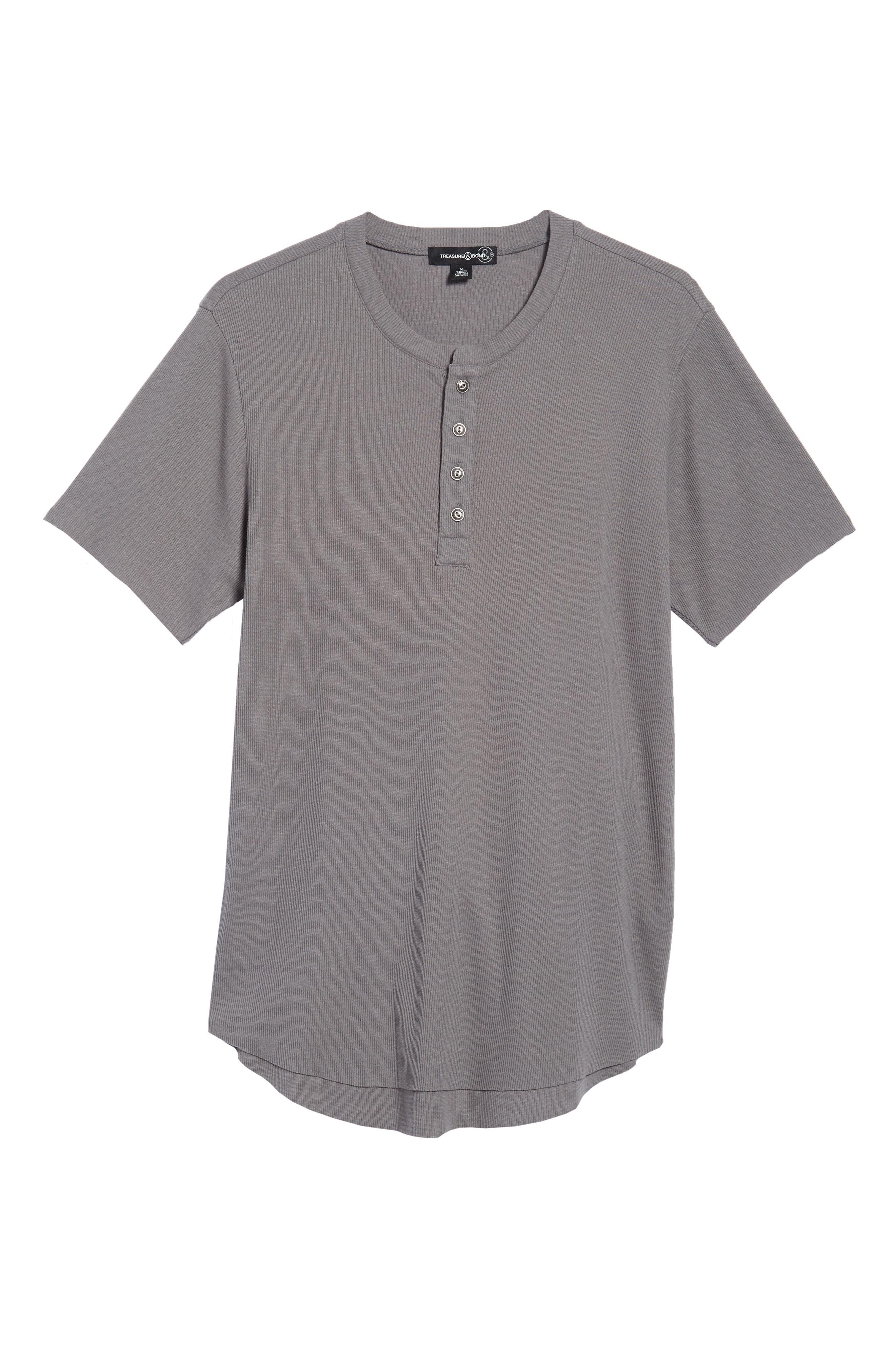 Ribbed Henley T-Shirt,                             Alternate thumbnail 4, color,                             Grey Shade