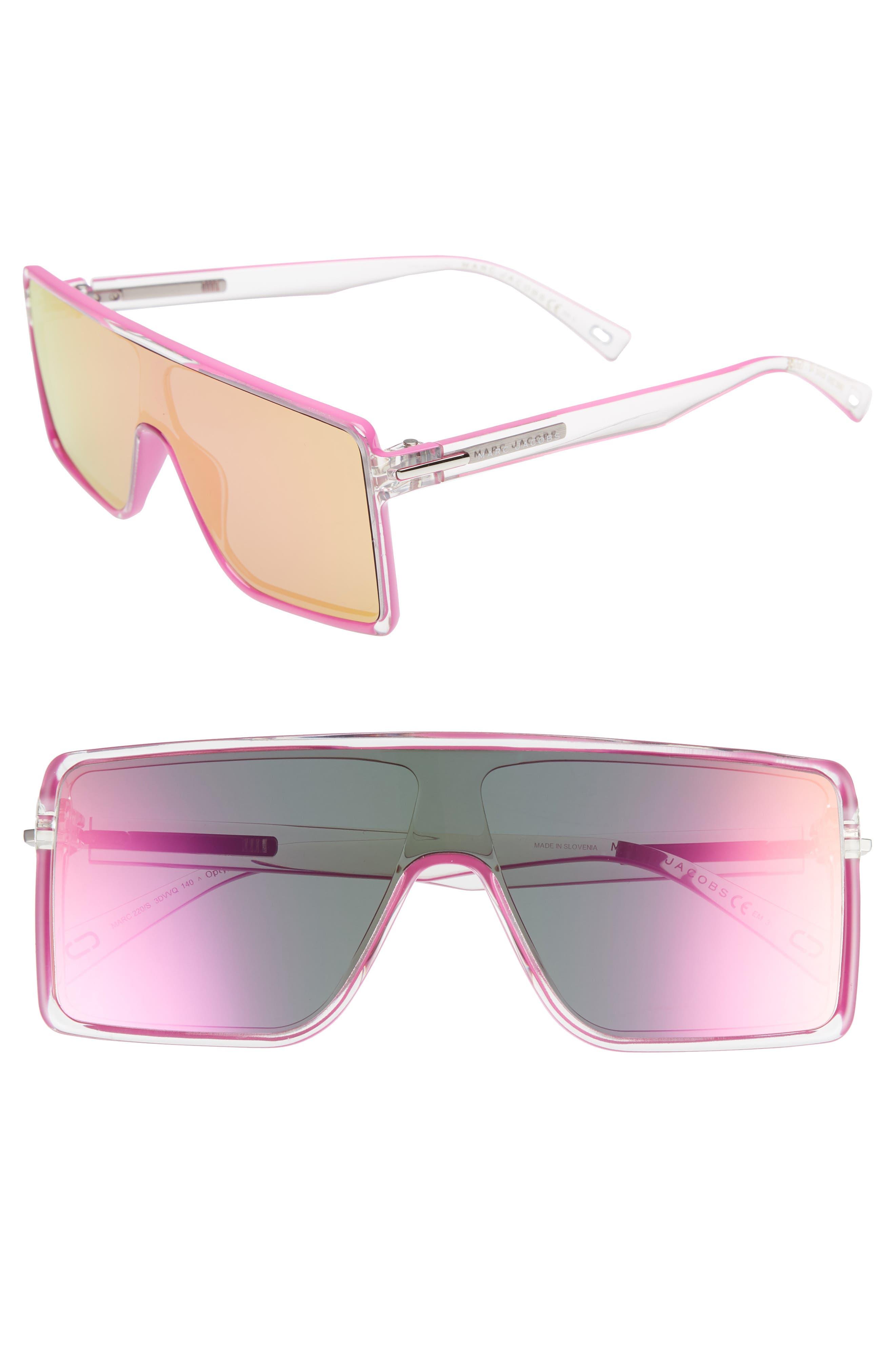 54mm Shield Sunglasses,                             Main thumbnail 1, color,                             Crystal Pink