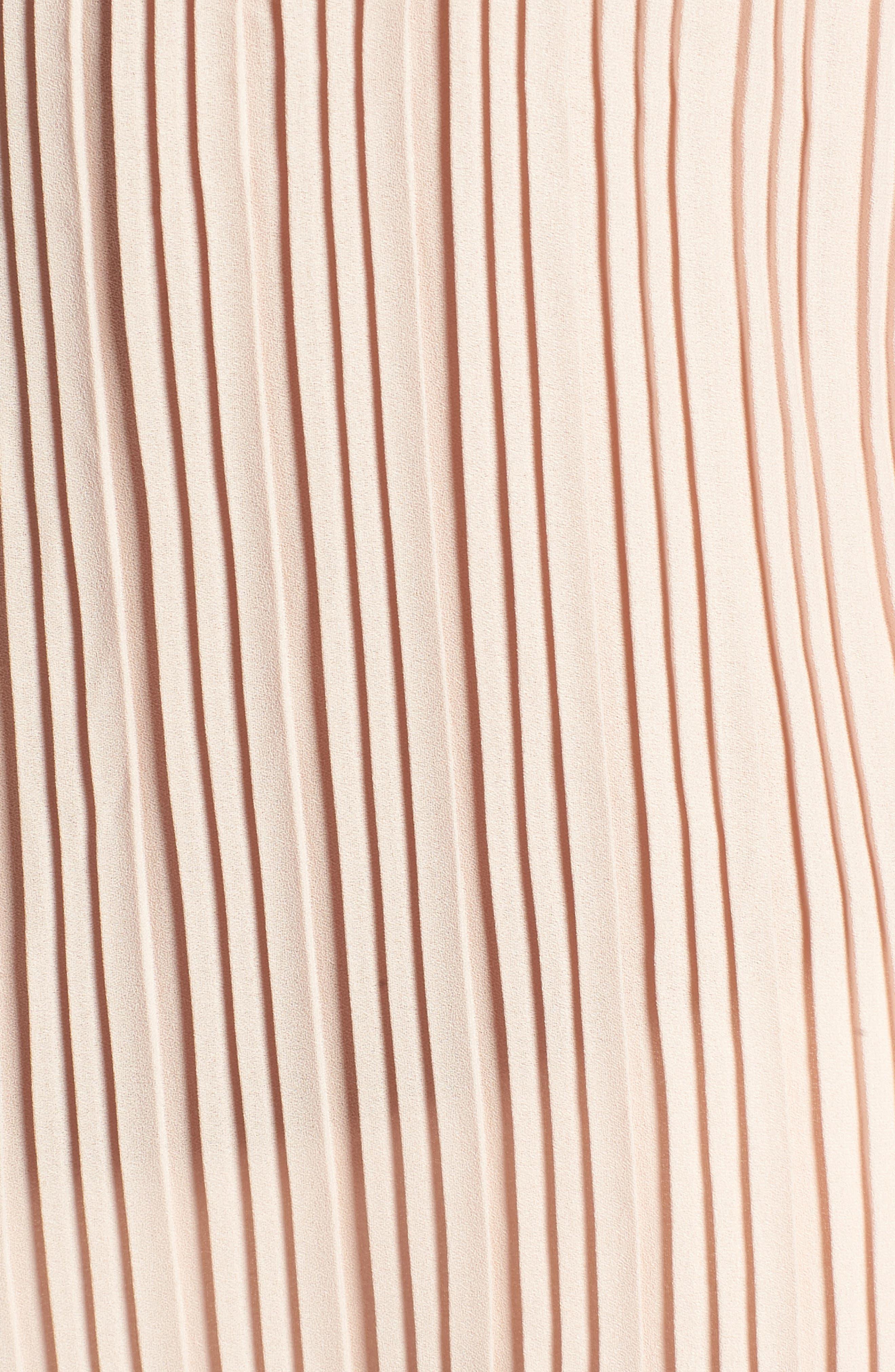 Mini Pleat Ruffle Sleeve Blouse,                             Alternate thumbnail 5, color,                             Tan