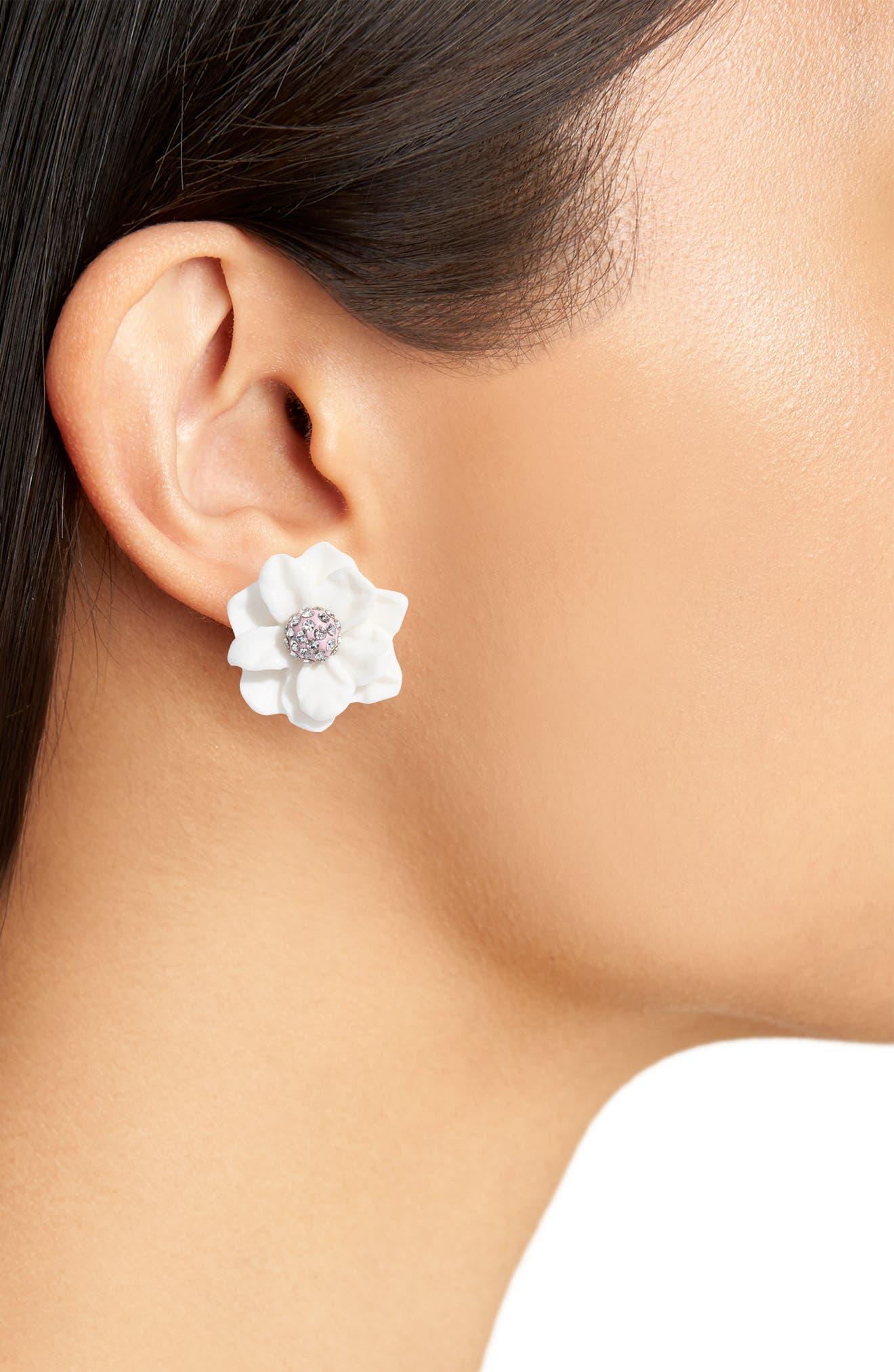 Gardenia Stud Earrings,                             Alternate thumbnail 2, color,                             Ivory