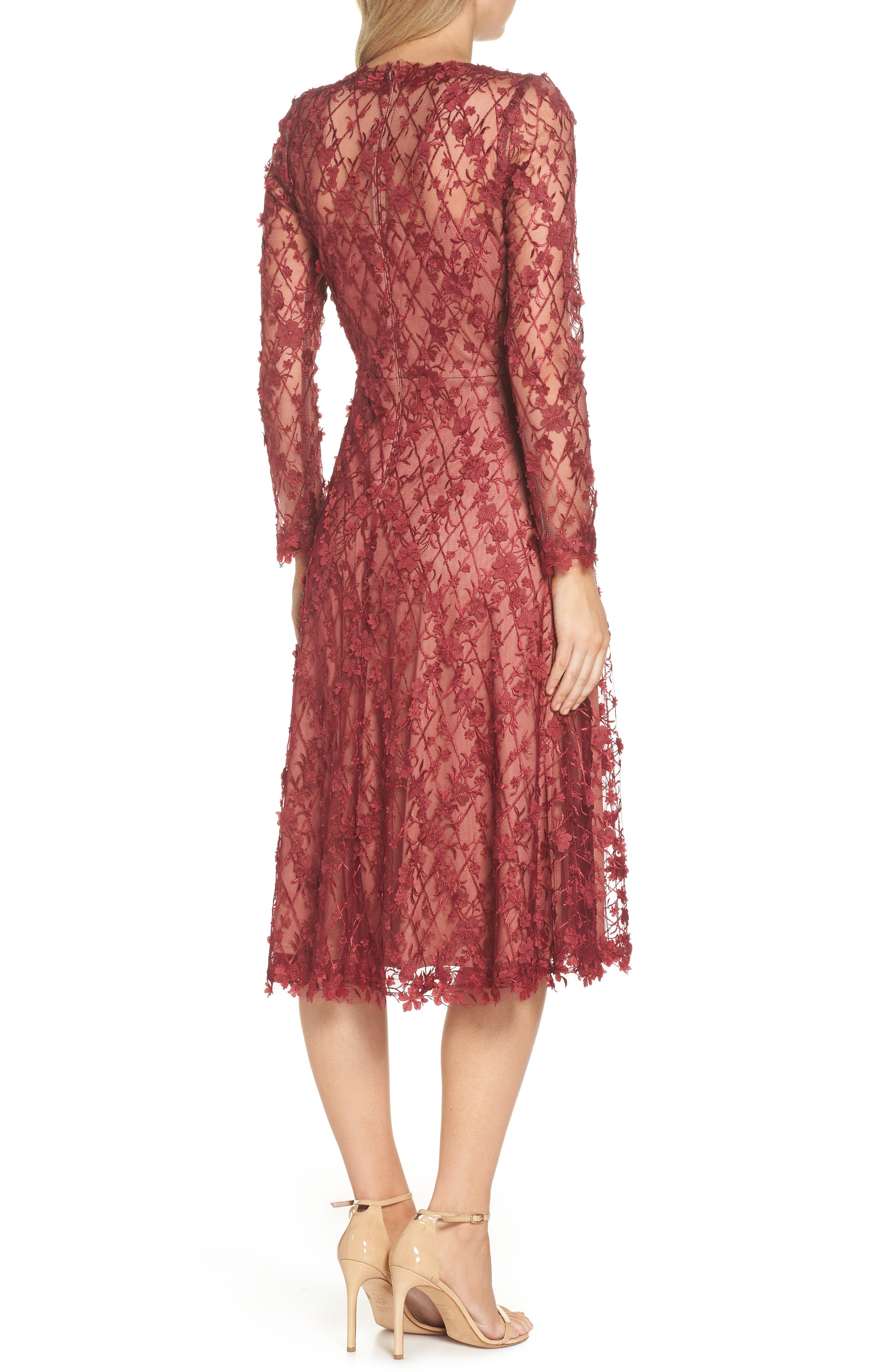 3D Flowers Lace Dress,                             Alternate thumbnail 2, color,                             Rosewood/ Nude