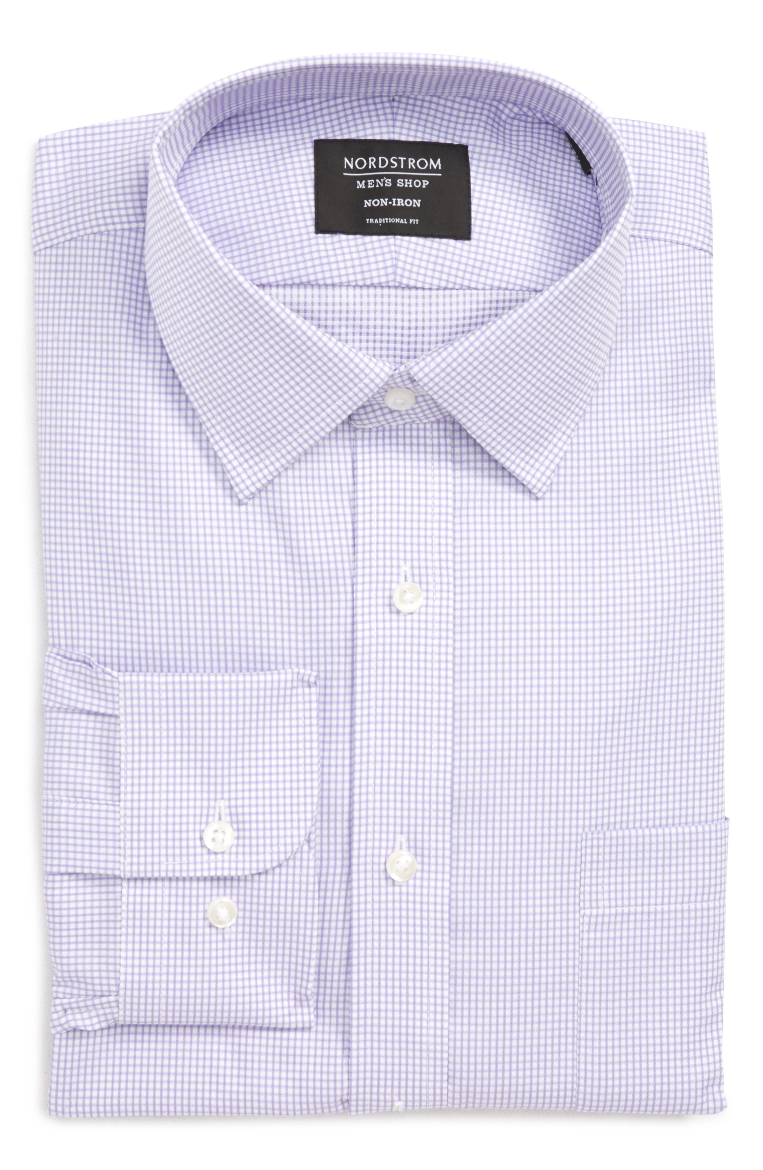 Traditional Fit Check Dress Shirt,                             Alternate thumbnail 6, color,                             Purple Chalk