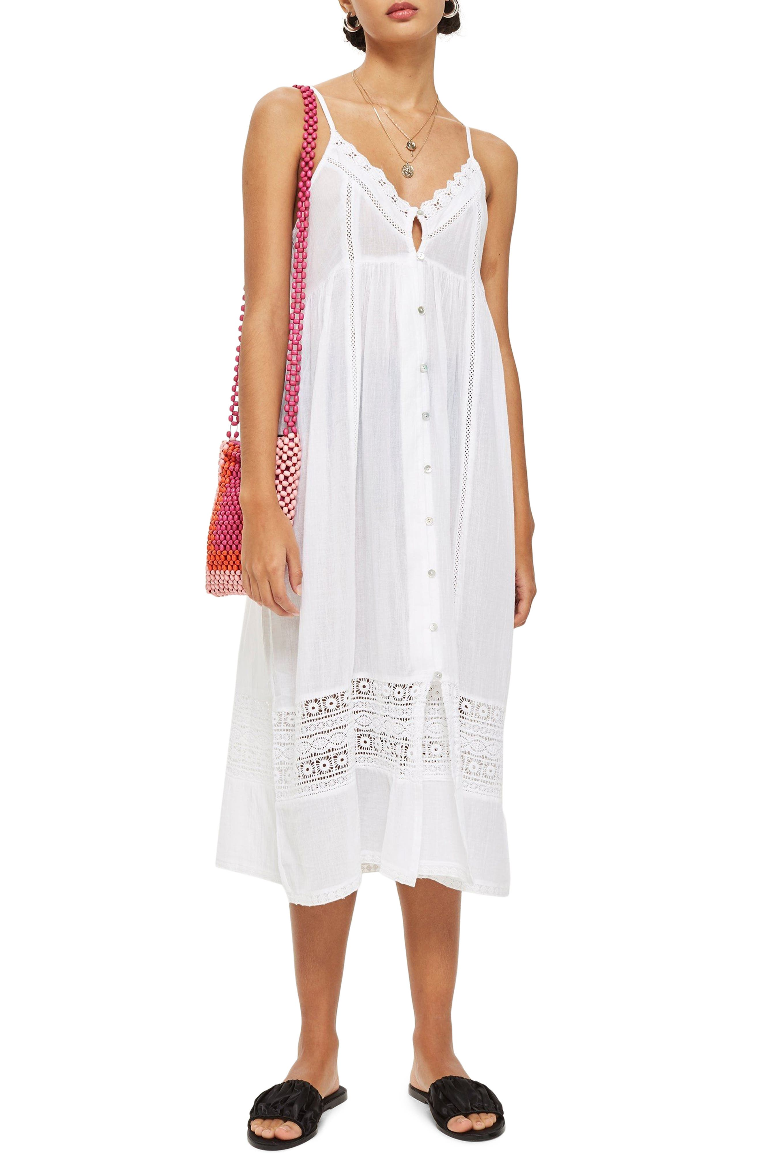 Lace Frill Midi Dress,                             Main thumbnail 1, color,                             White