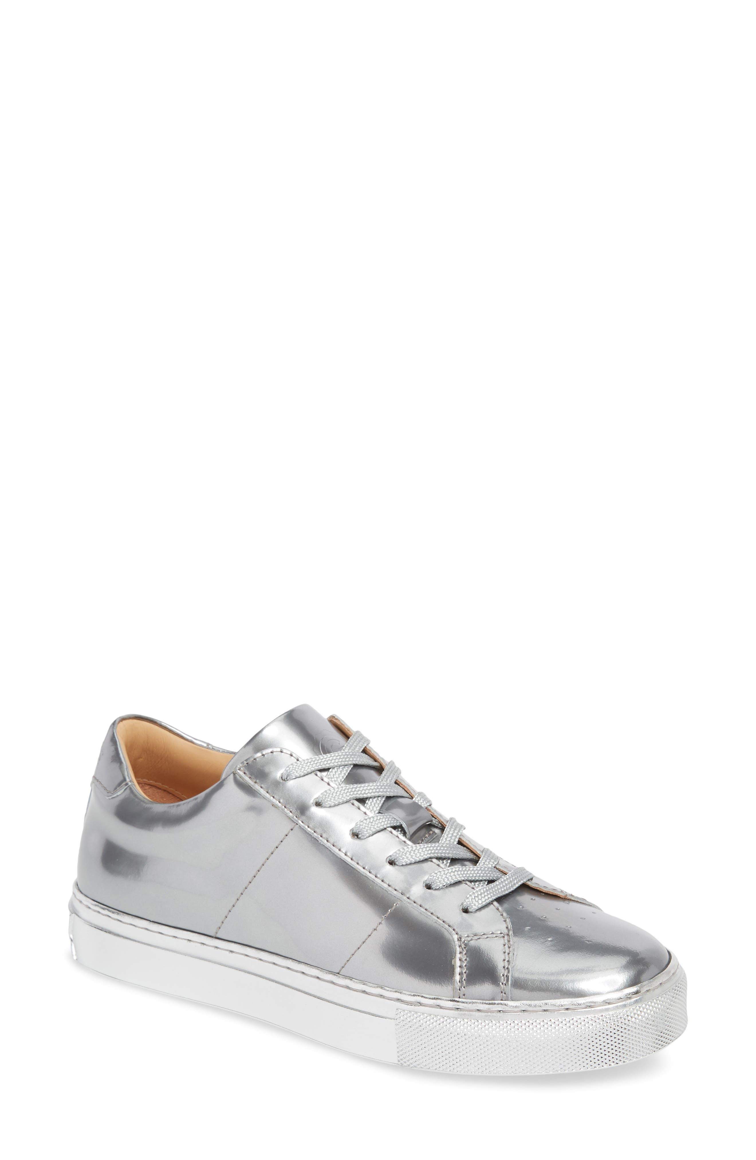 Royale Low Top Sneaker,                             Main thumbnail 1, color,                             Silver Tonal/ Flat Leather