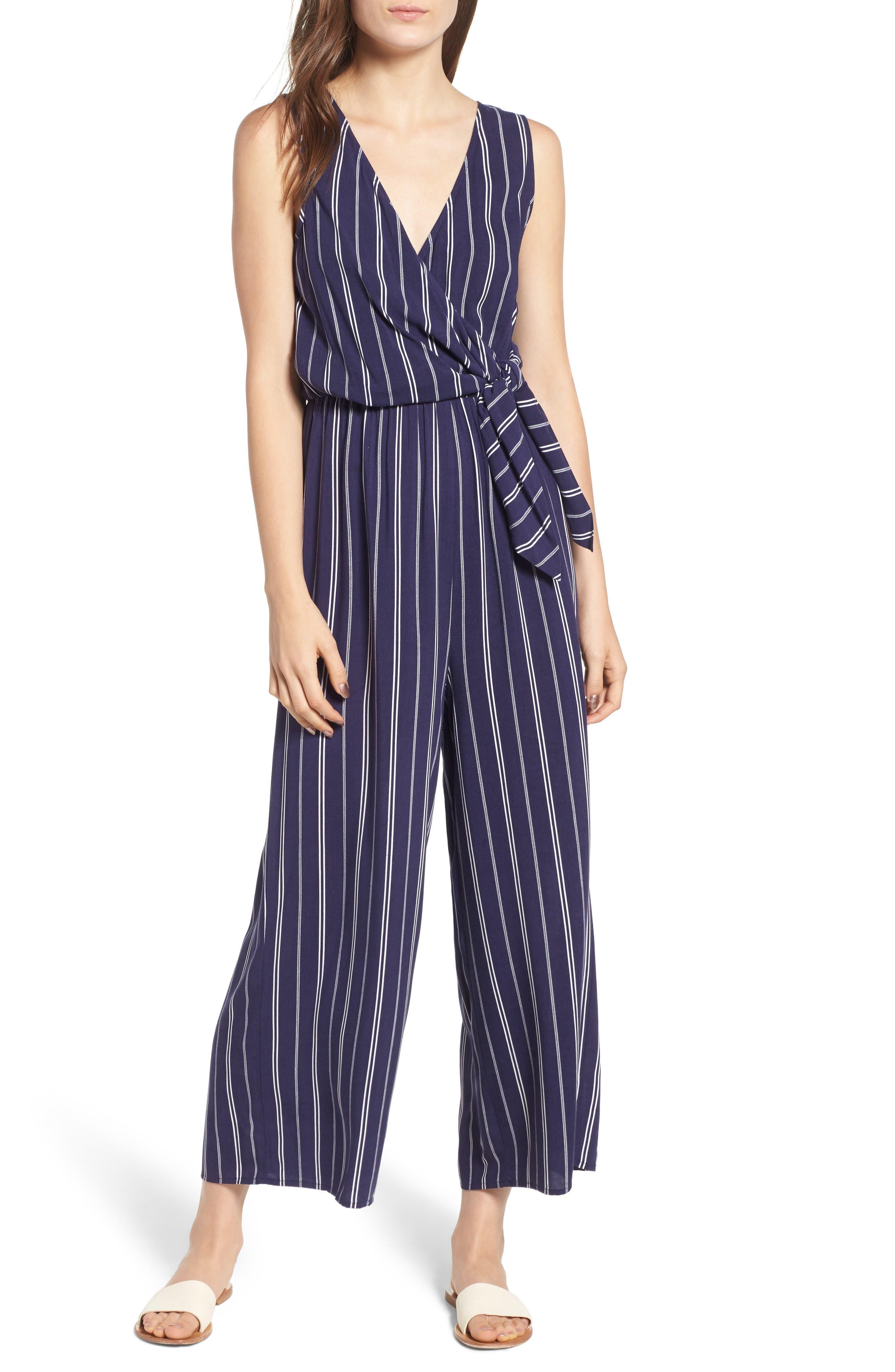 Stripe Side Tie Jumpsuit,                             Main thumbnail 1, color,                             Navy