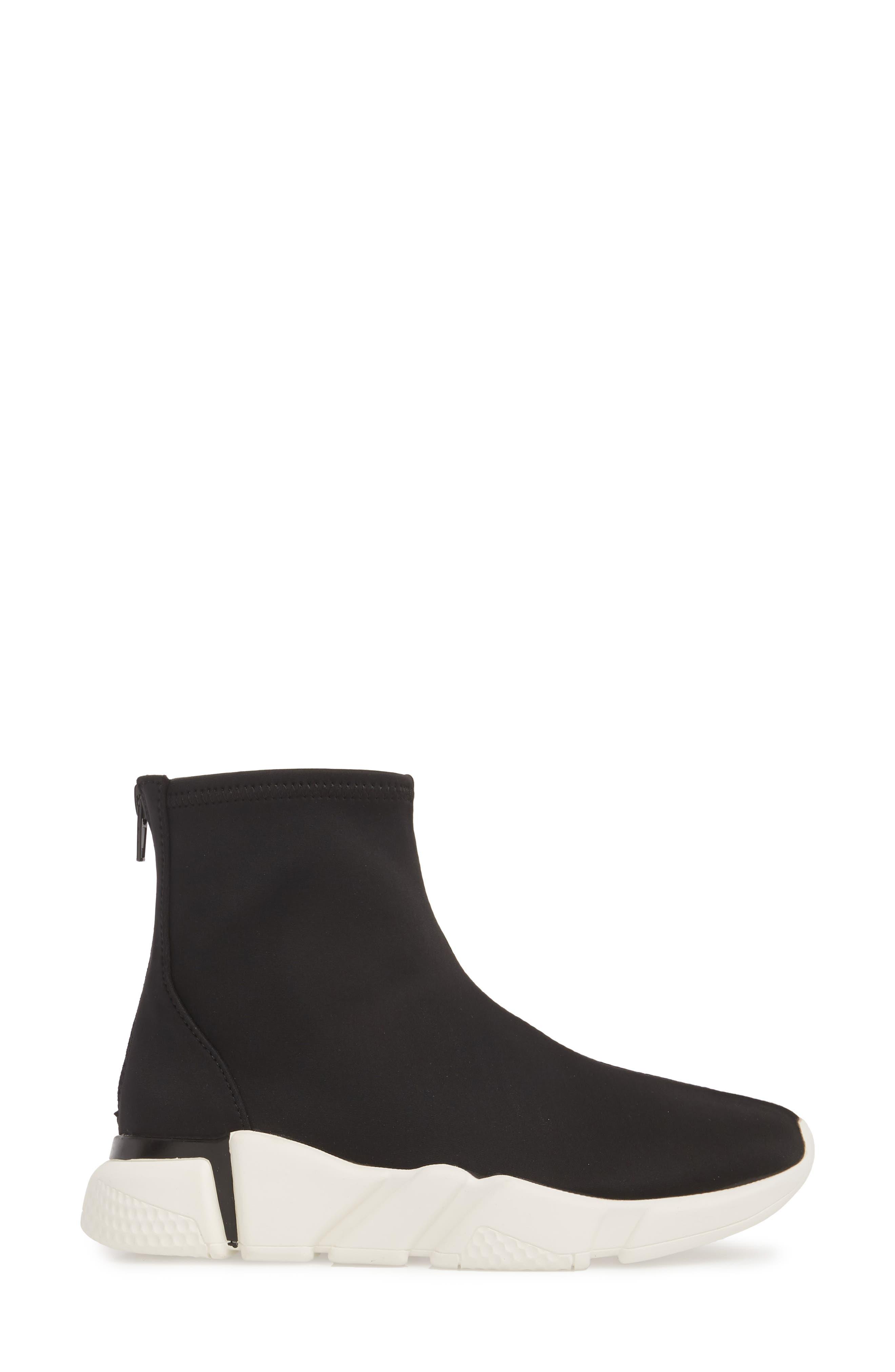 Sock Sneaker,                             Alternate thumbnail 3, color,                             Black / White