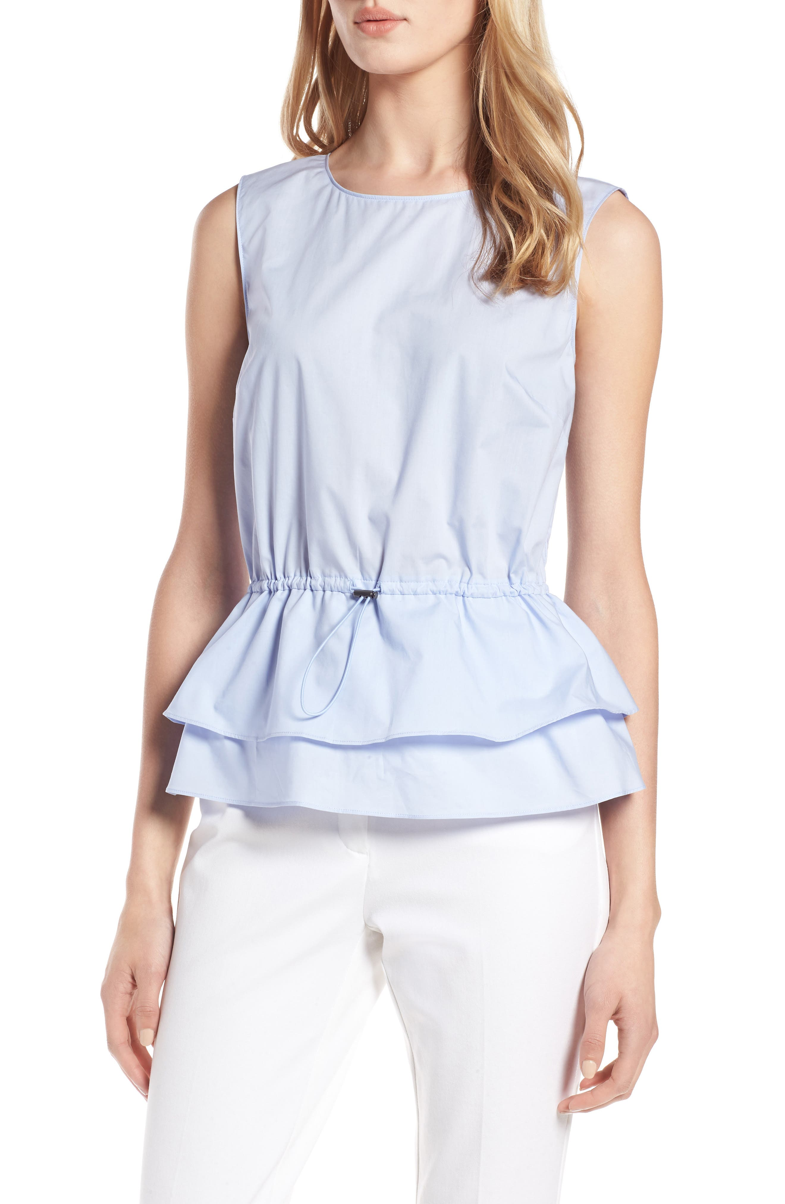 Toggle Front Cotton Peplum Top,                         Main,                         color, Blue