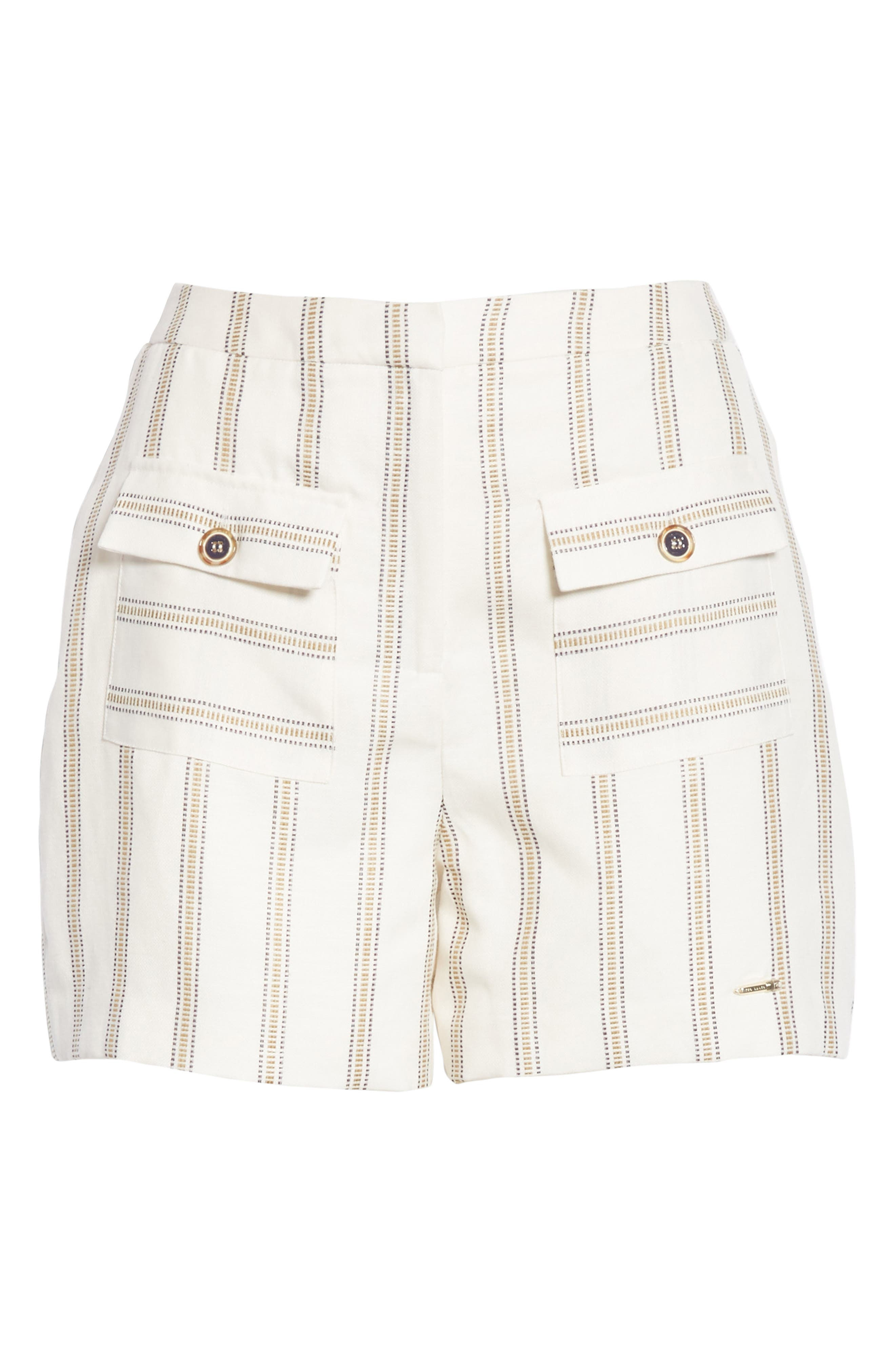 Colour by Numbers Helenn Stripe Shorts,                             Alternate thumbnail 6, color,                             Ivory