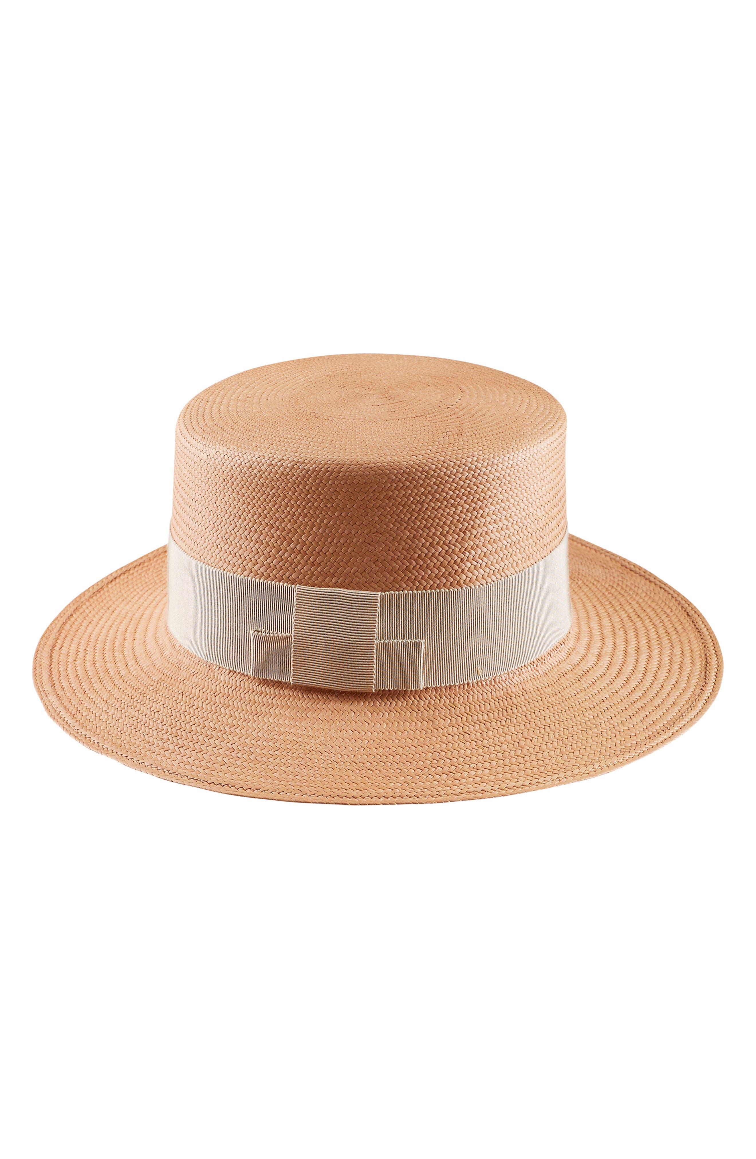 HELEN KAMINSKI WOVEN PALM PANAMA BOATER HAT - BROWN