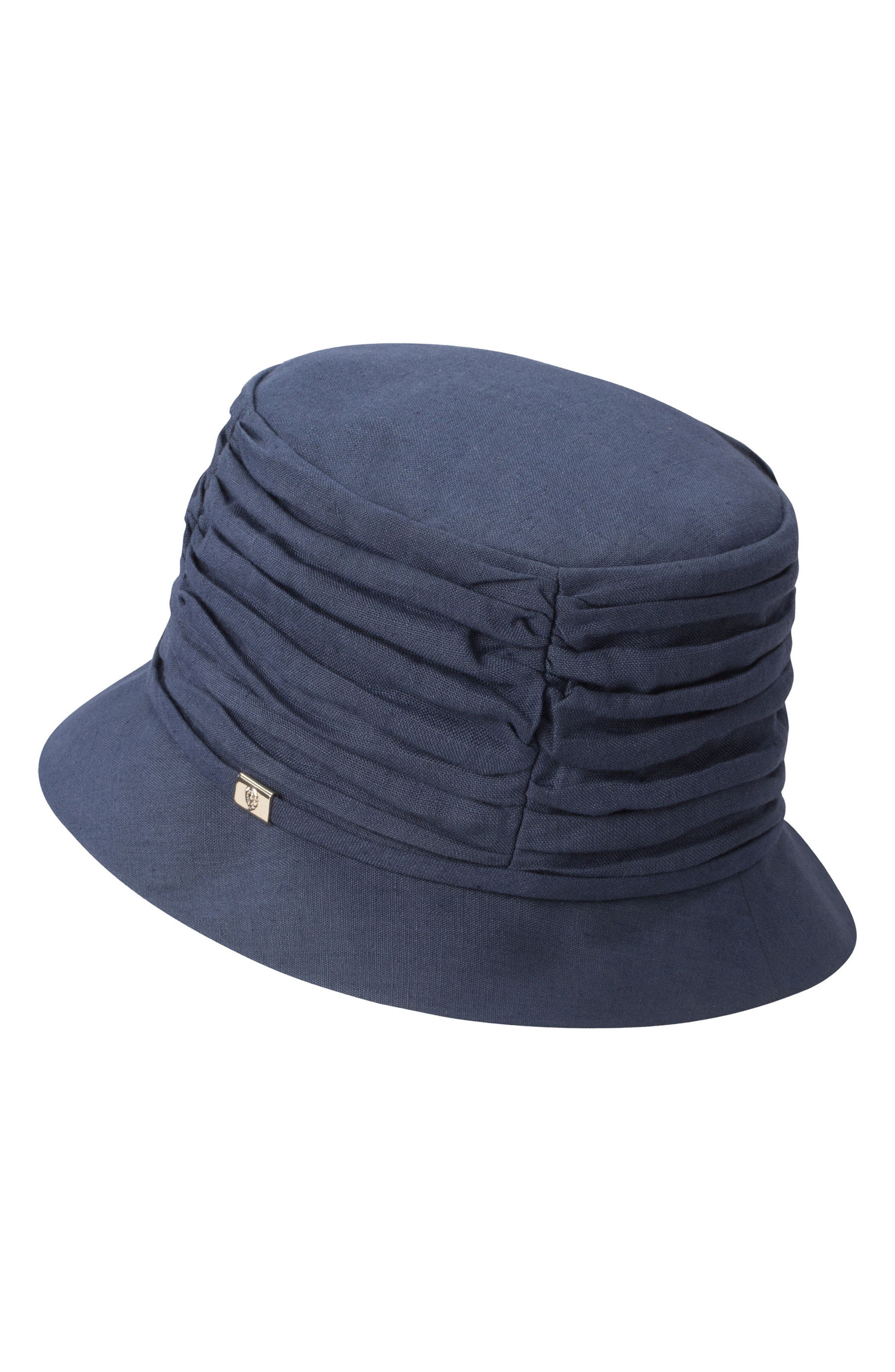 HELEN KAMINSKI CLASSIC LINEN BUCKET HAT - BLUE