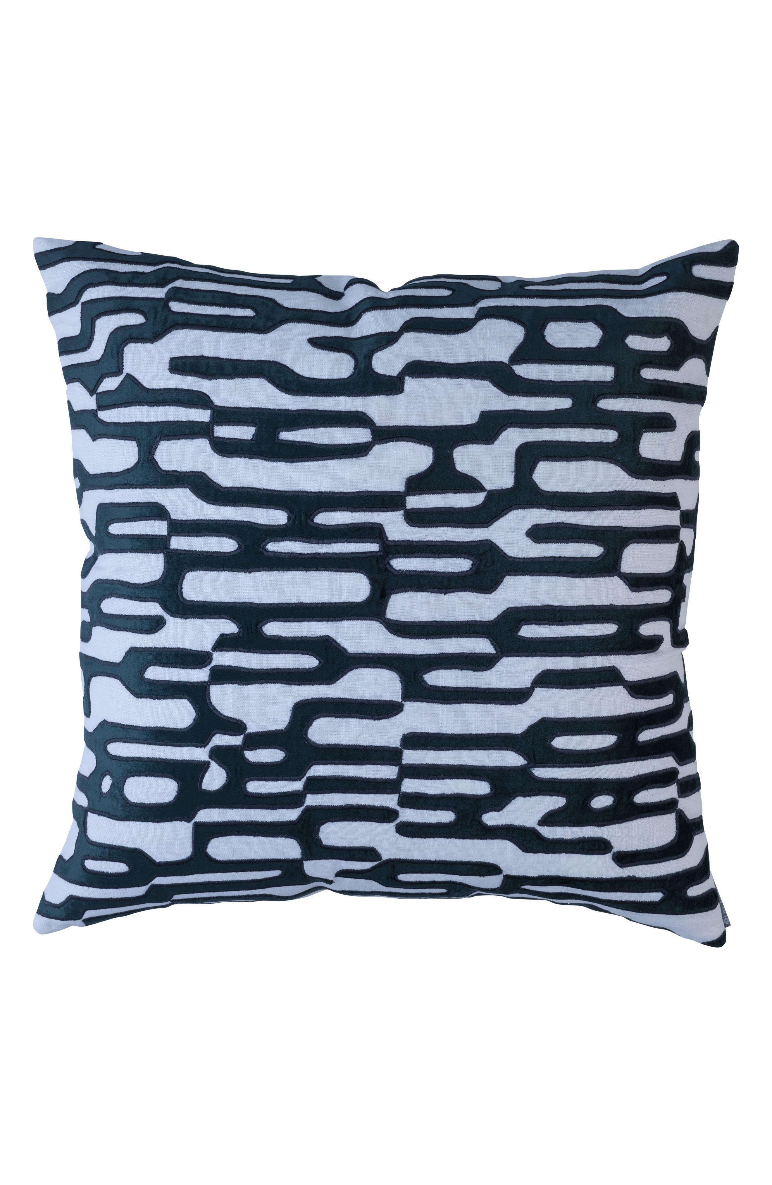 Christian Linen & Velvet Square Accent Pillow,                             Main thumbnail 1, color,                             Blue