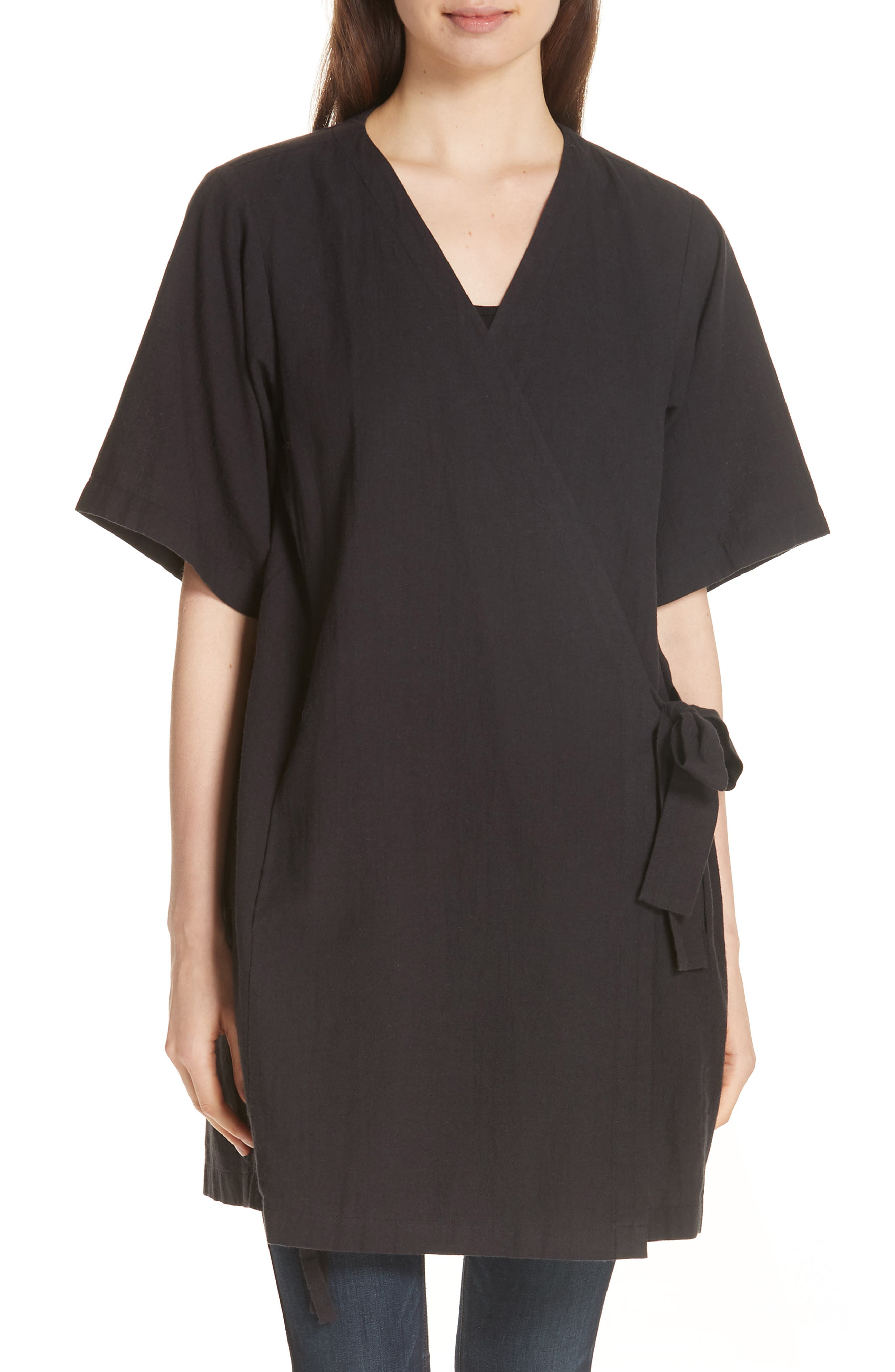 Kimono Sleeve Organic Cotton Blend Jacket,                         Main,                         color, Black