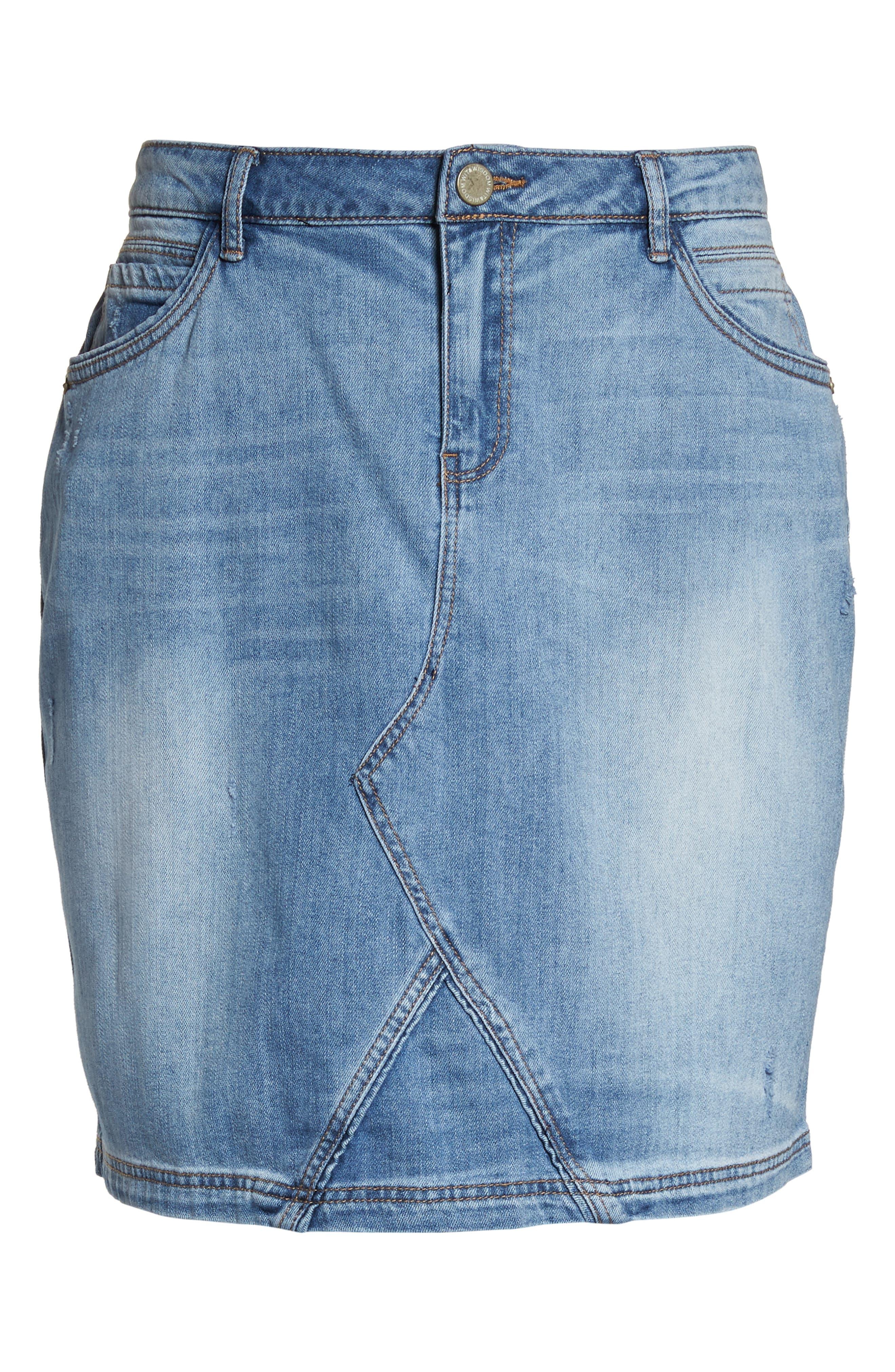 Denim A-Line Skirt,                             Alternate thumbnail 7, color,                             Light Blue
