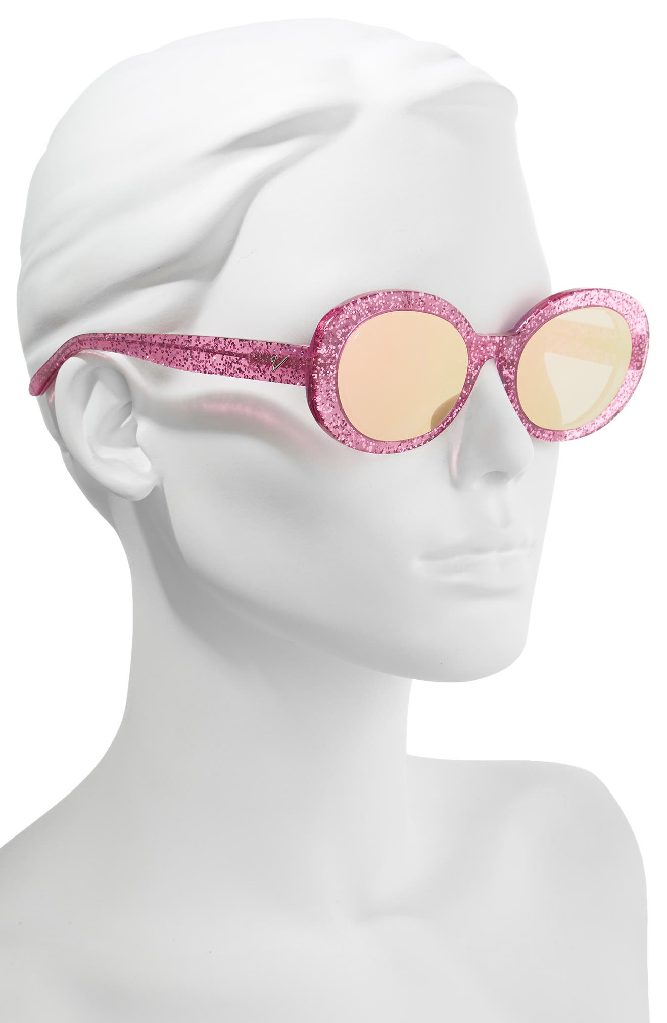 Selena 53mm Oval Sunglasses,                             Alternate thumbnail 2, color,                             Pink Glitter/ Pink Mirror