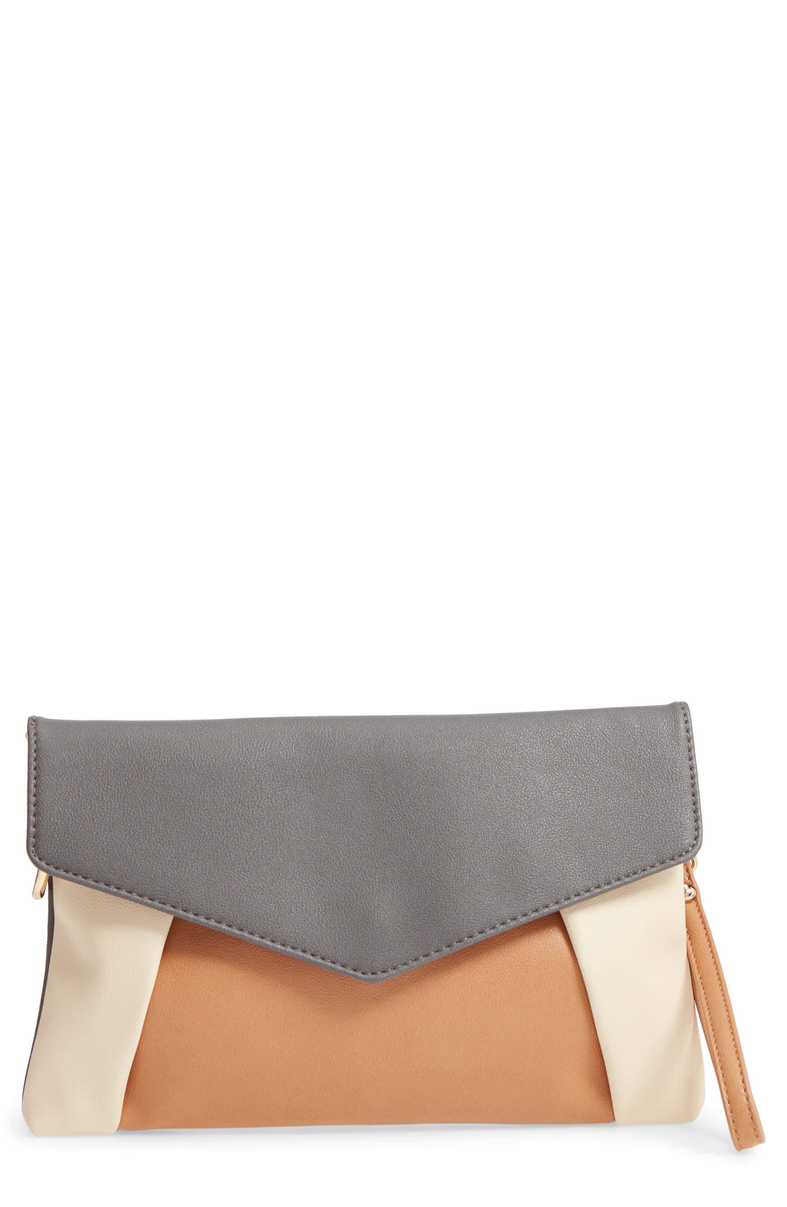 Shea Tricolor Faux Leather Clutch,                             Main thumbnail 1, color,                             Grey Multi