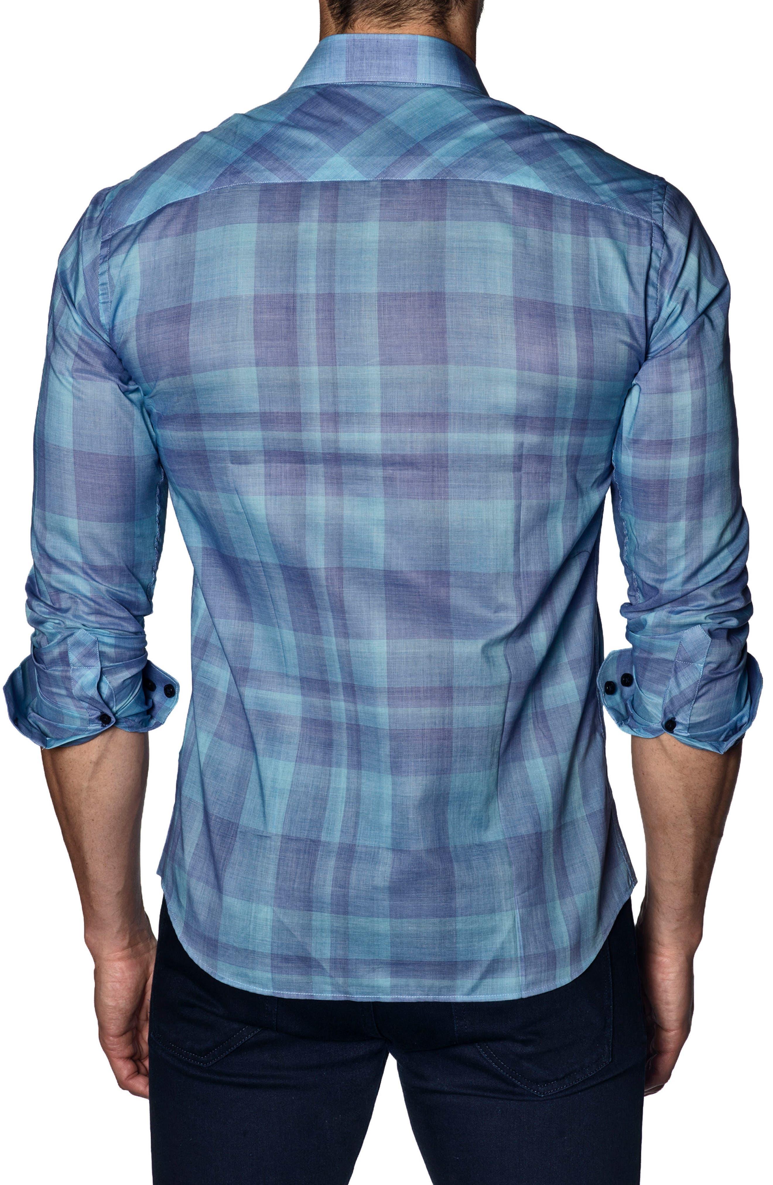 Trim Fit Sport Shirt,                             Alternate thumbnail 2, color,                             Turquoise Check