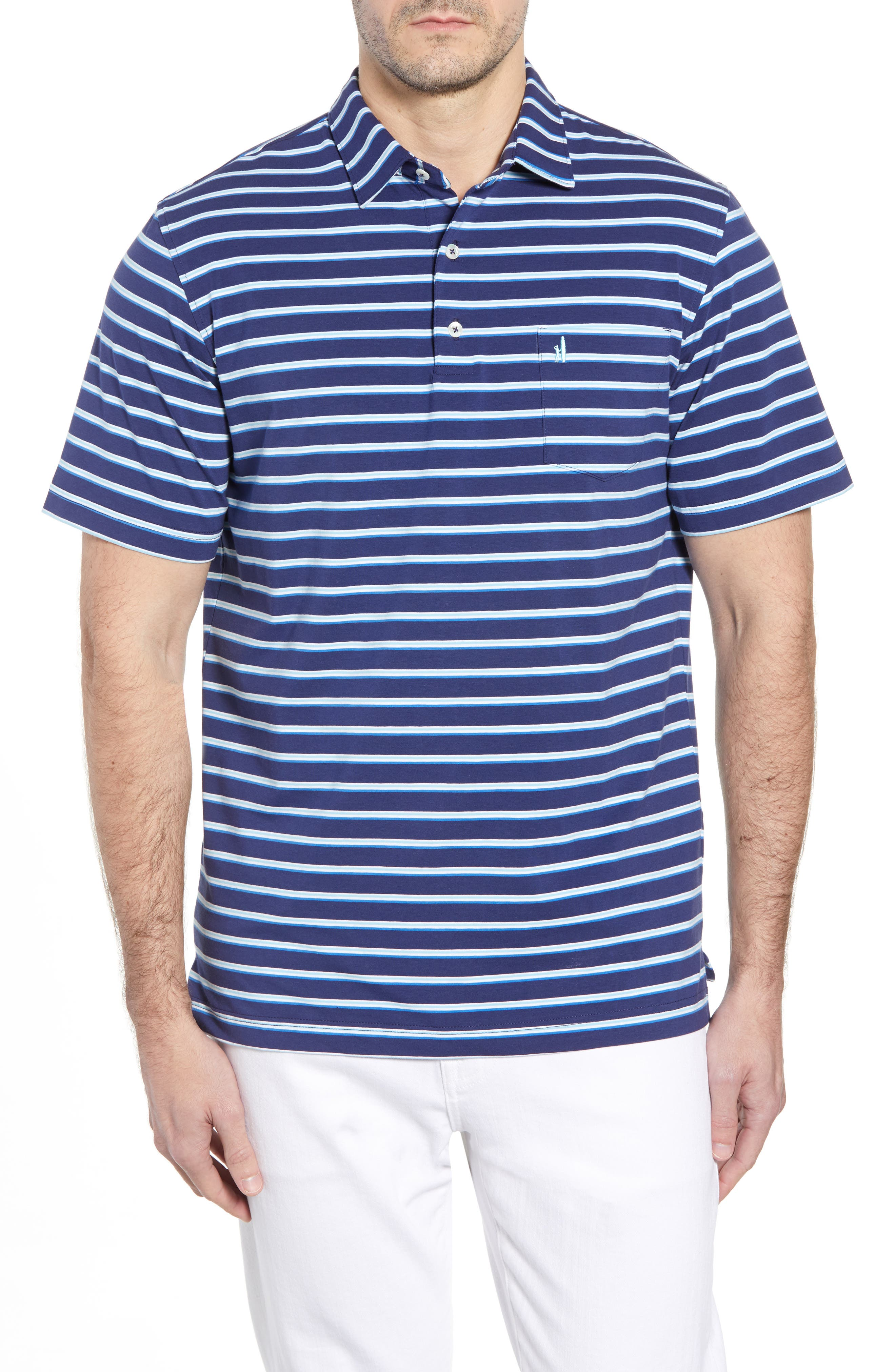 Battle Classic Fit Stripe Stretch Jersey Polo,                         Main,                         color, Twilight