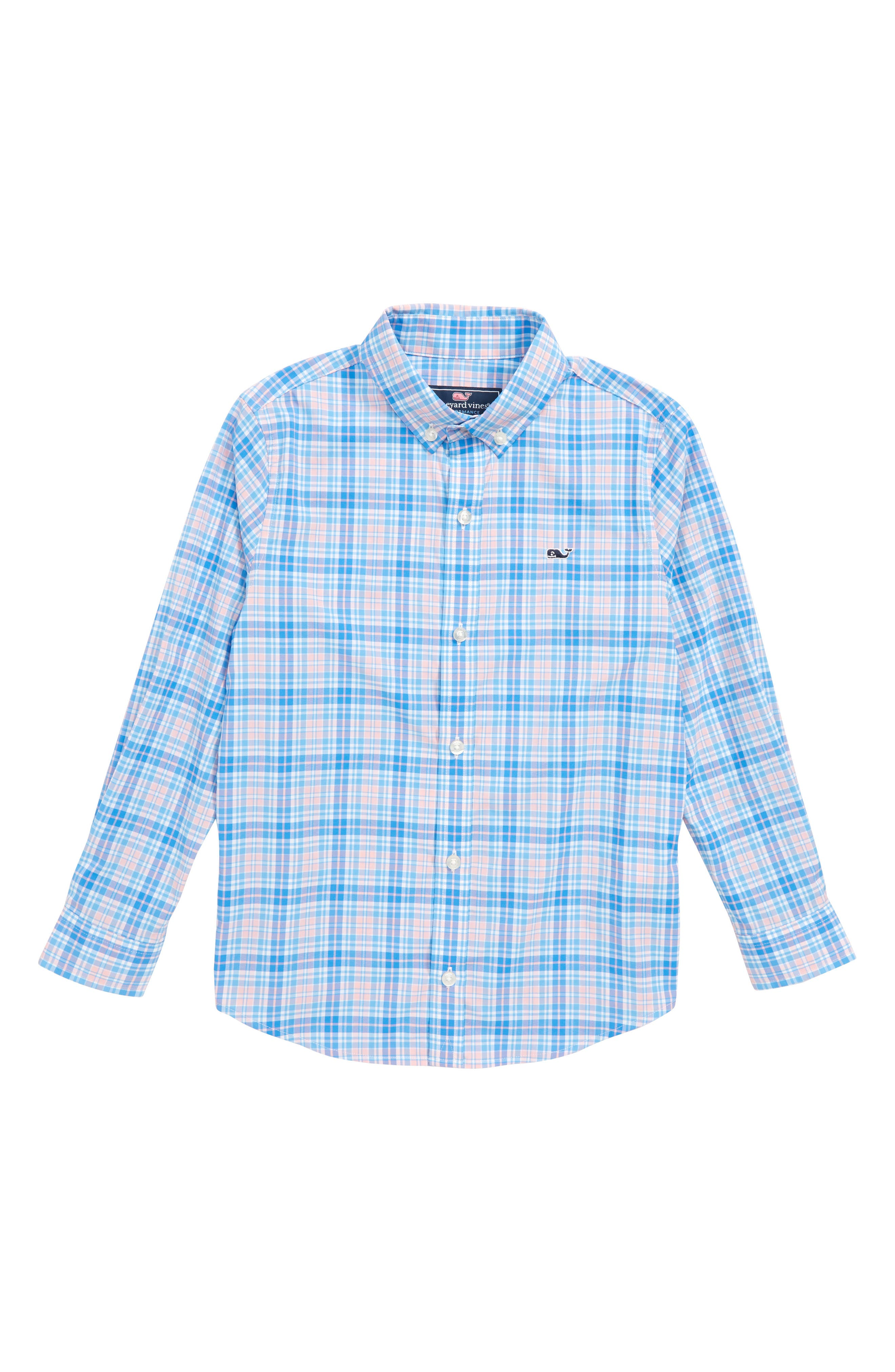Stoney Hill Plaid Whale Shirt,                         Main,                         color, Hibiscus