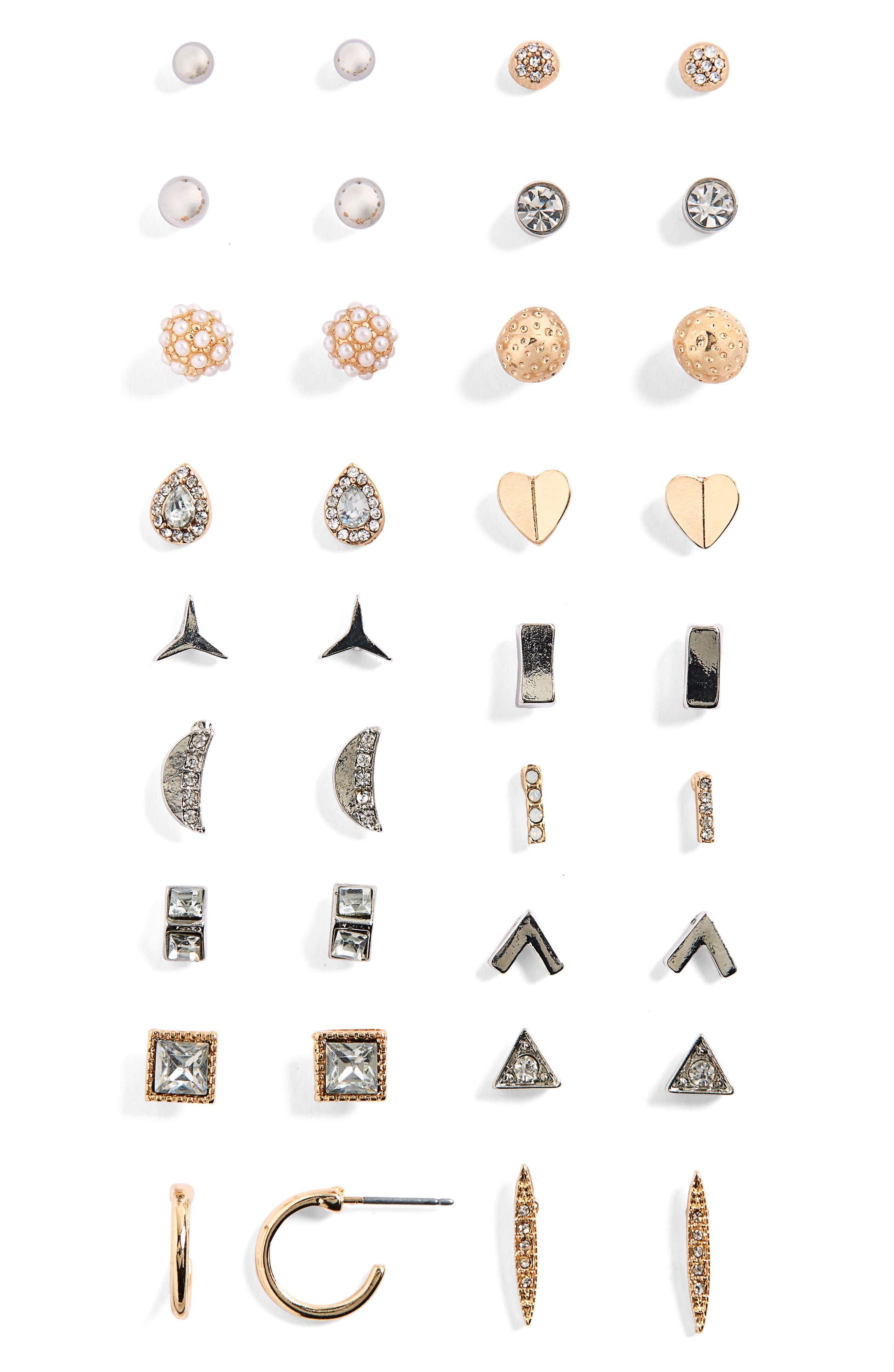 18-Pack Imitation Pearl & Crystal Stud Earrings,                             Main thumbnail 1, color,                             Gold/ Silver