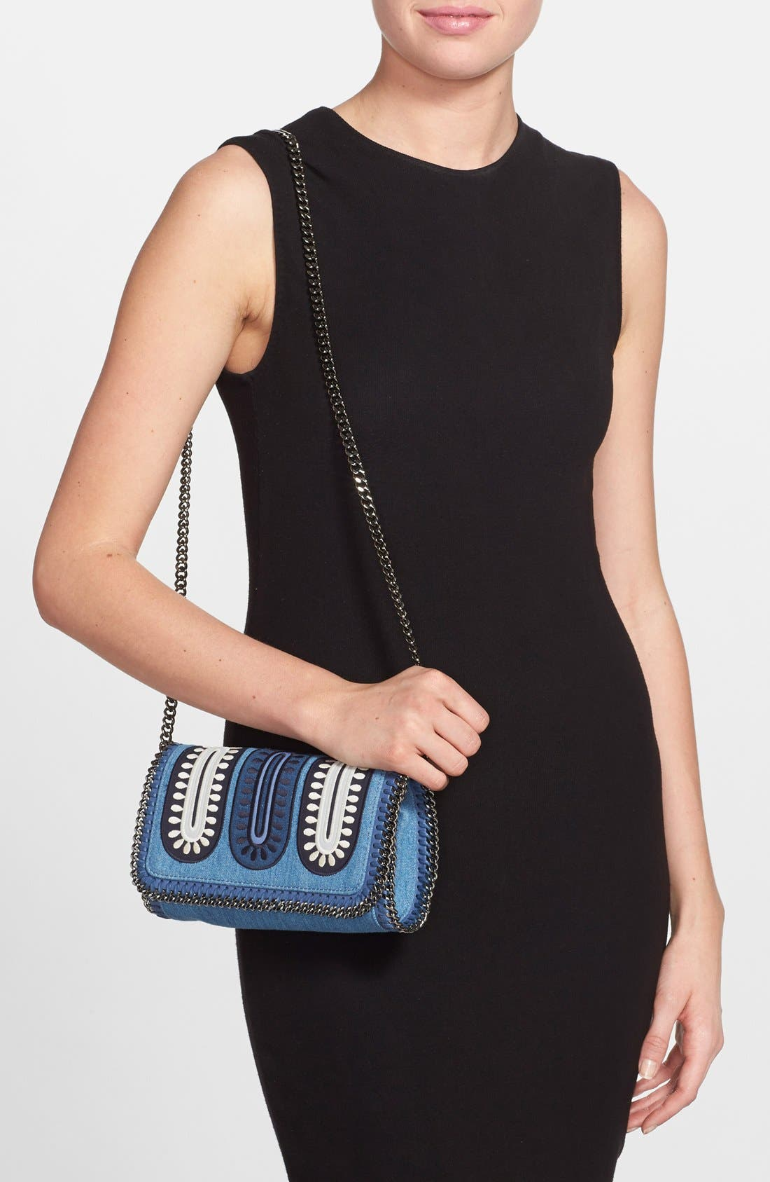 'Falabella - Adorned' Denim Crossbody Bag,                             Alternate thumbnail 2, color,                             Blue