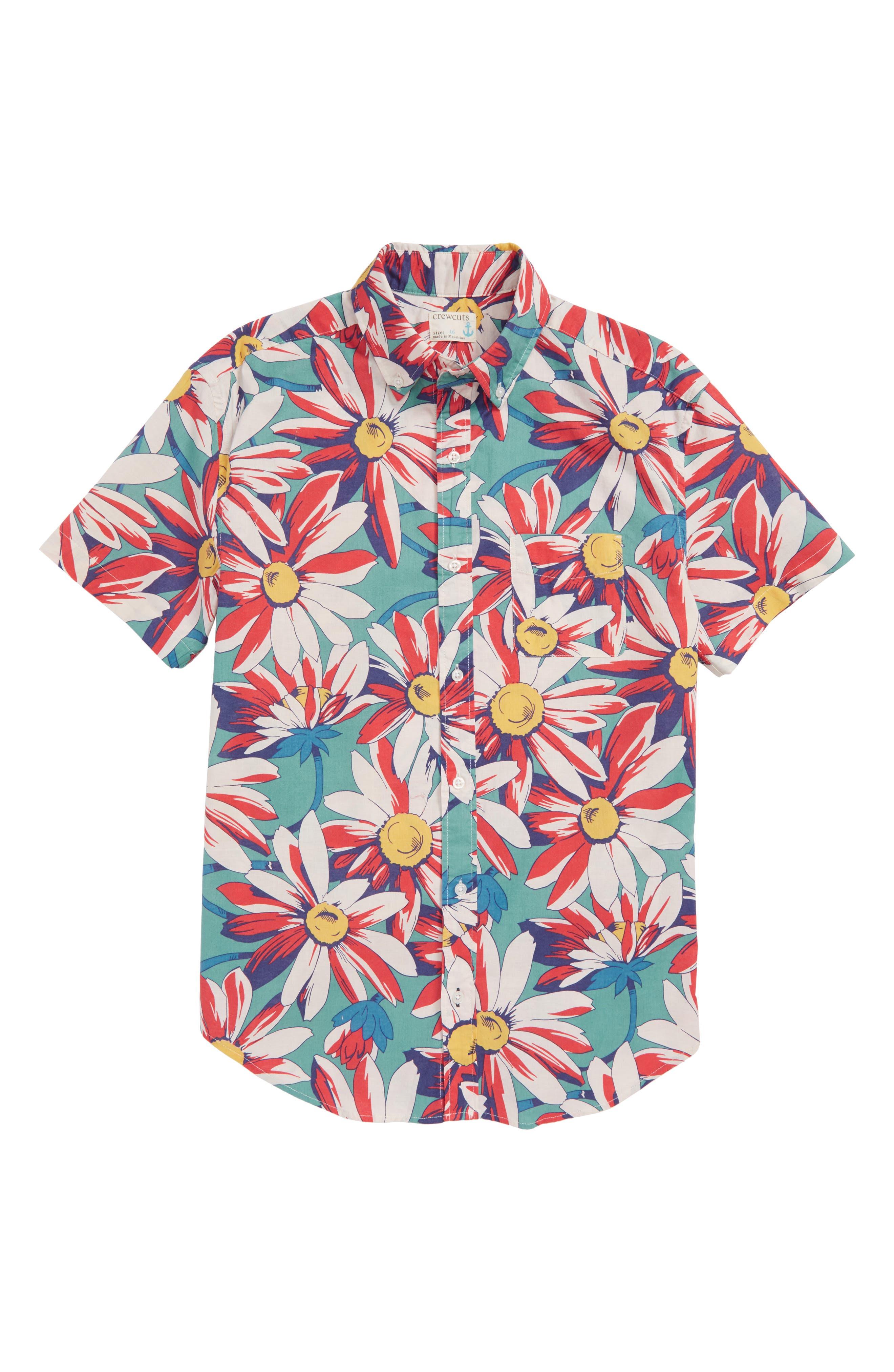 Secret Wash Crazy Daisy Shirt,                         Main,                         color, Moss Reef